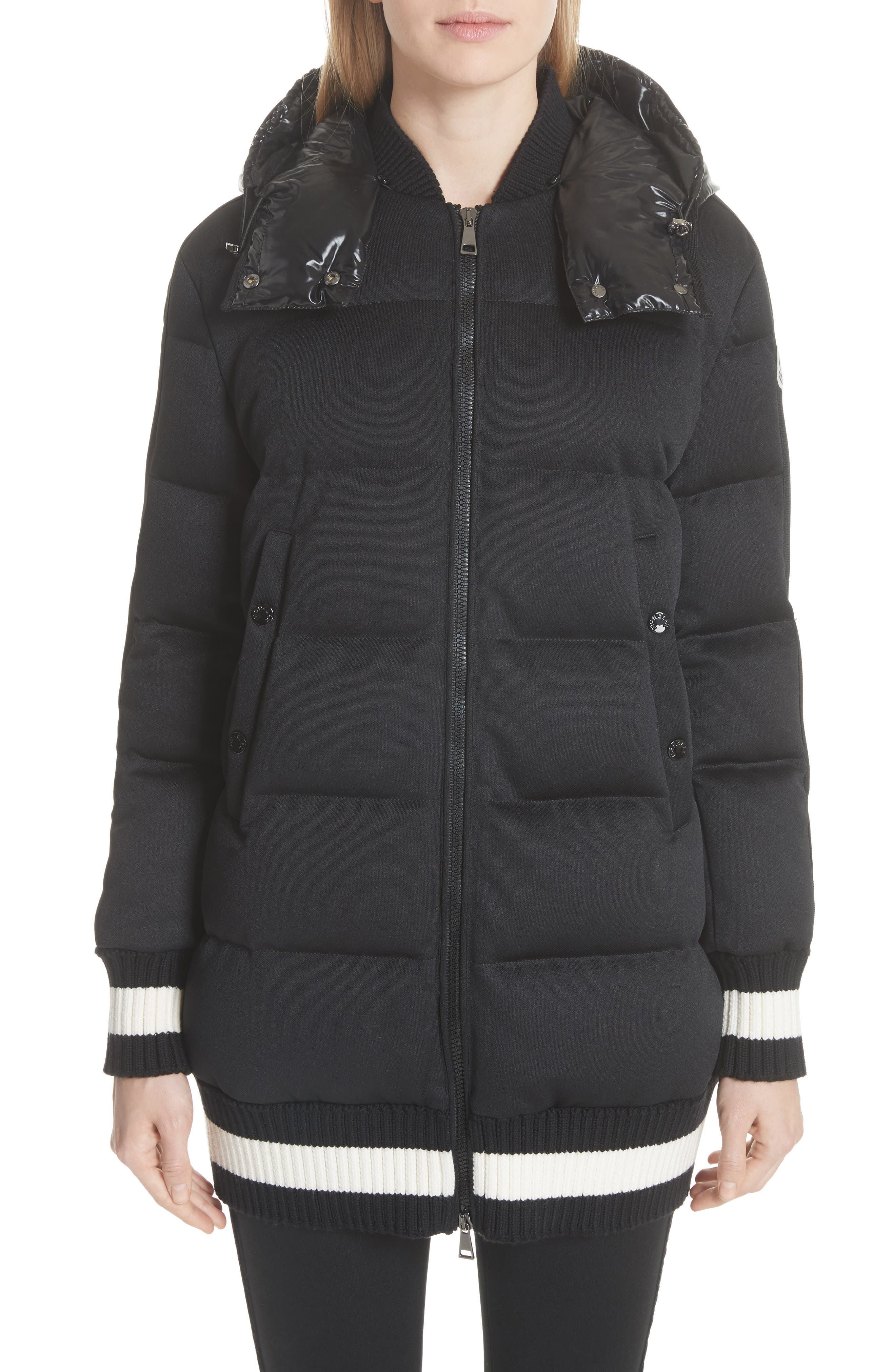 Harfang Quilted Down Bomber Coat, Main, color, BLACK