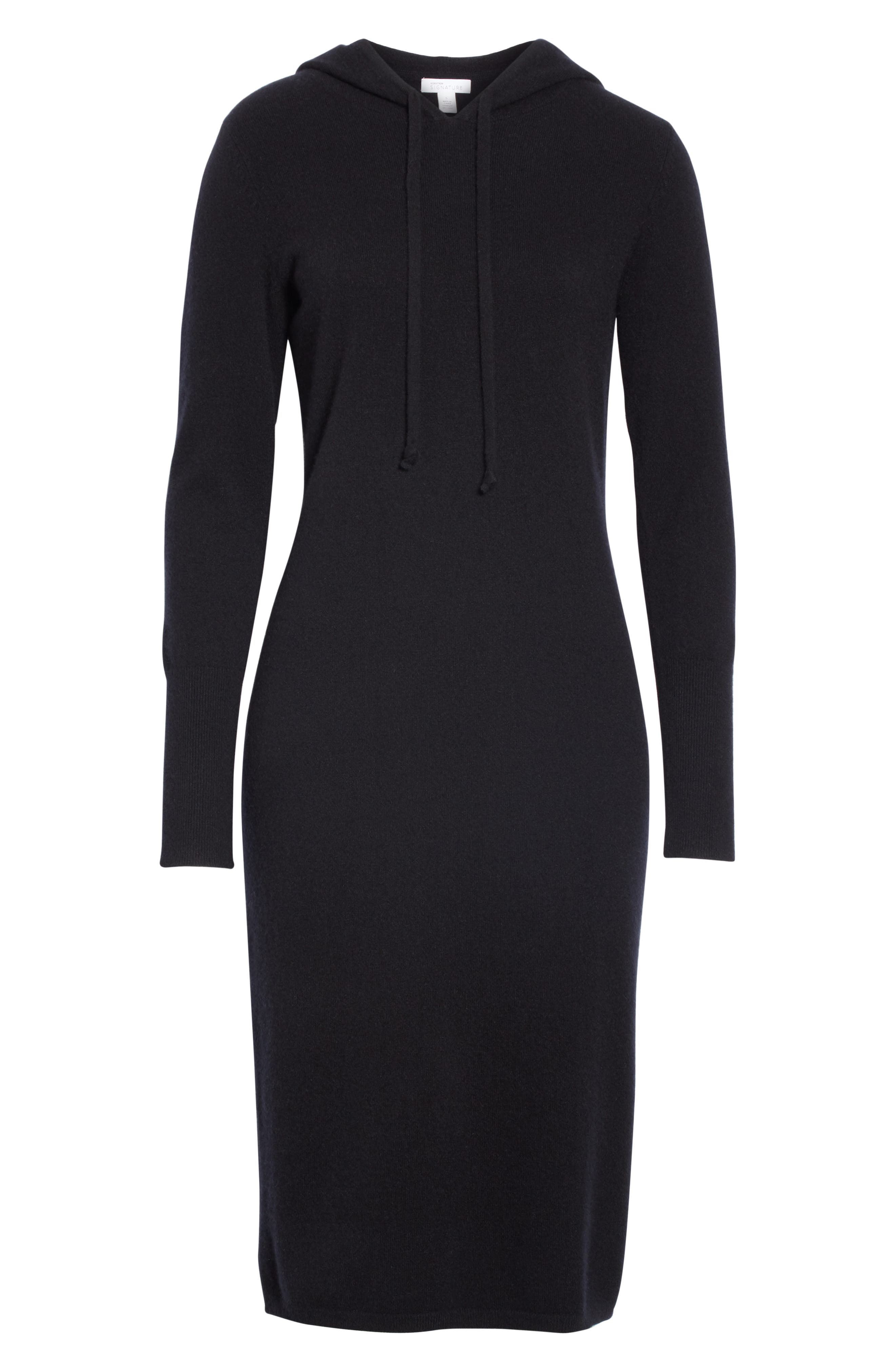 Cashmere Blend Hoodie Dress,                             Alternate thumbnail 7, color,                             BLACK