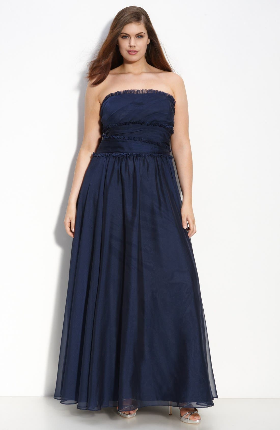 ML Monique Lhuillier Bridesmaids Strapless Chiffon Gown,                             Main thumbnail 10, color,