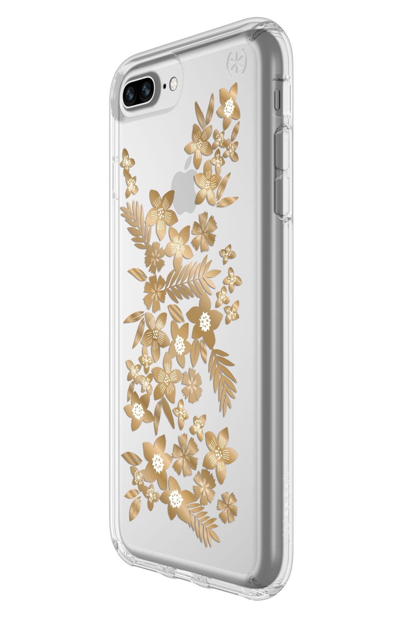 Floral iPhone 6 Plus/6s Plus/7 Plus/8 Plus Case,                             Alternate thumbnail 5, color,                             SHIMMER FLORAL METALLIC/ CLEAR
