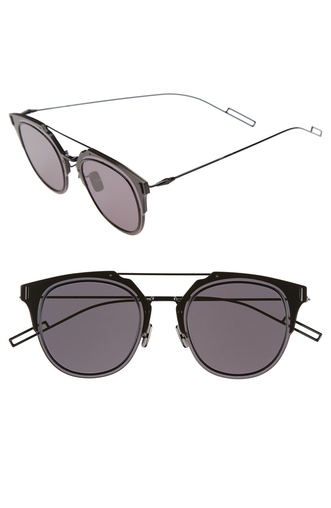 DIOR 'Composit 1.0S' 62mm Metal Shield Sunglasses, Main, color, DARK GREY BLACK/ GREY