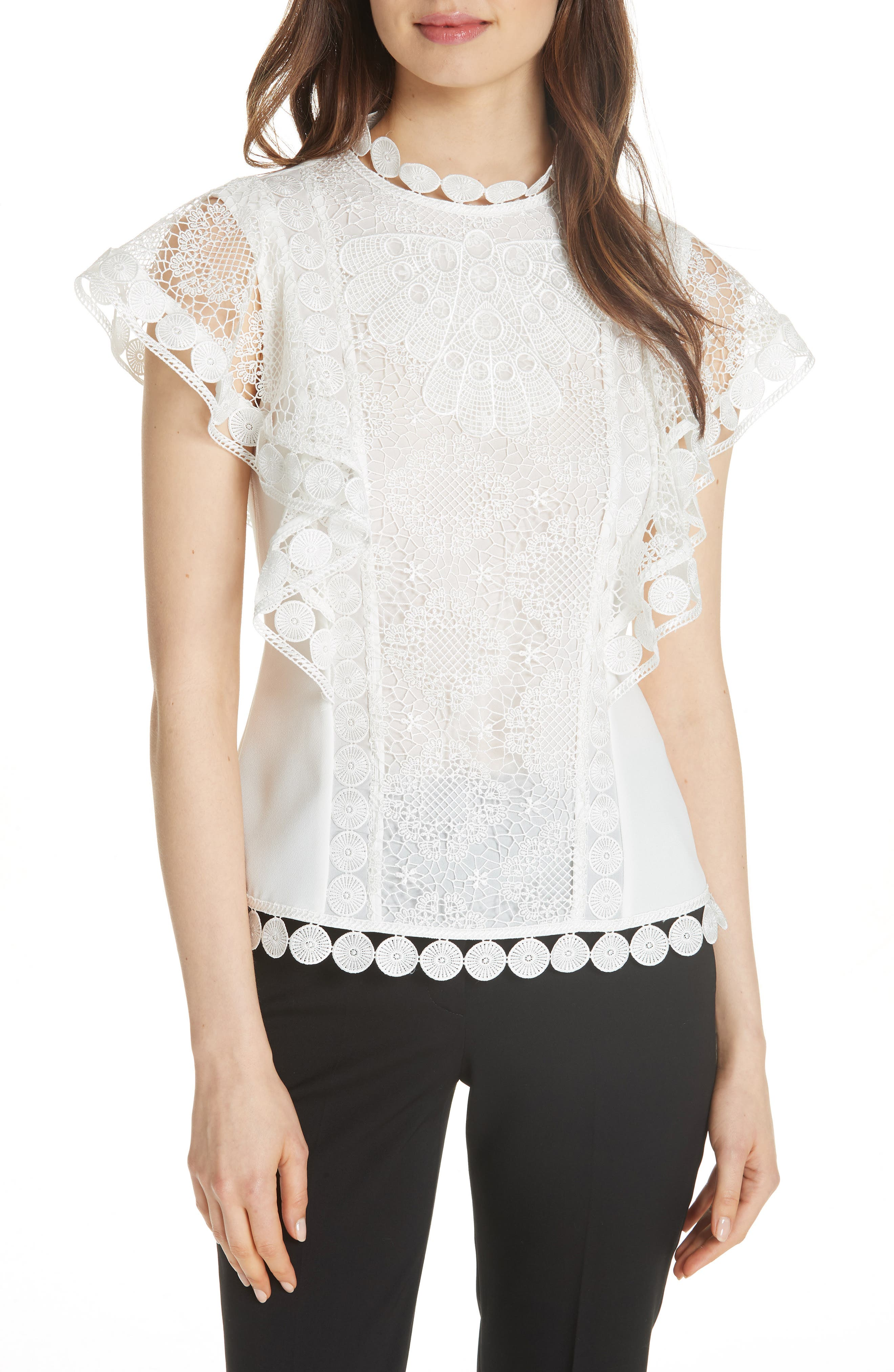 High Neck Lace Front Top,                         Main,                         color, 110