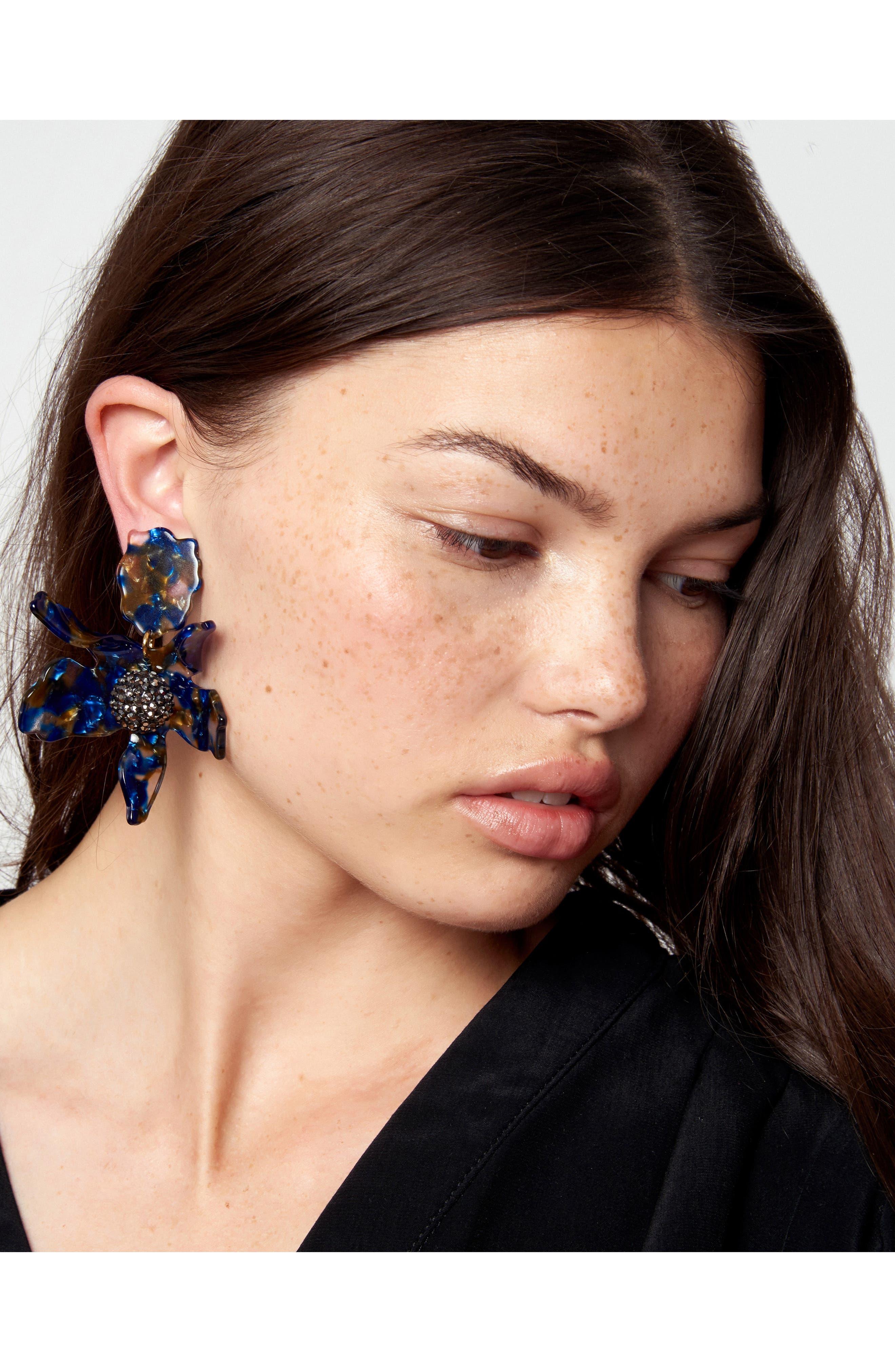 LELE SADOUGHI,                             Crystal Lily Clip Earrings,                             Alternate thumbnail 3, color,                             NIGHT STREAK