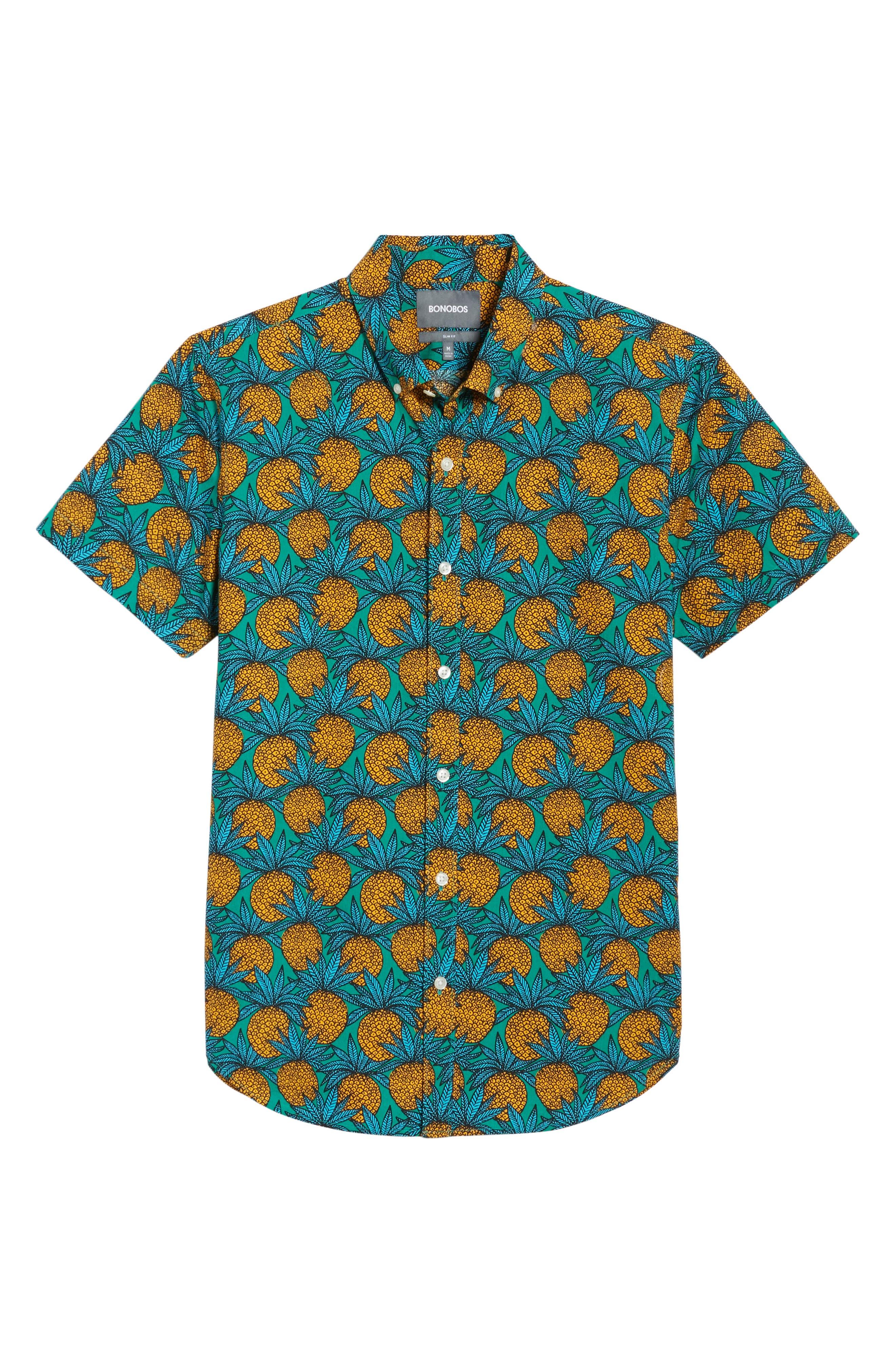 Slim Fit Print Short Sleeve Sport Shirt,                             Alternate thumbnail 6, color,                             300