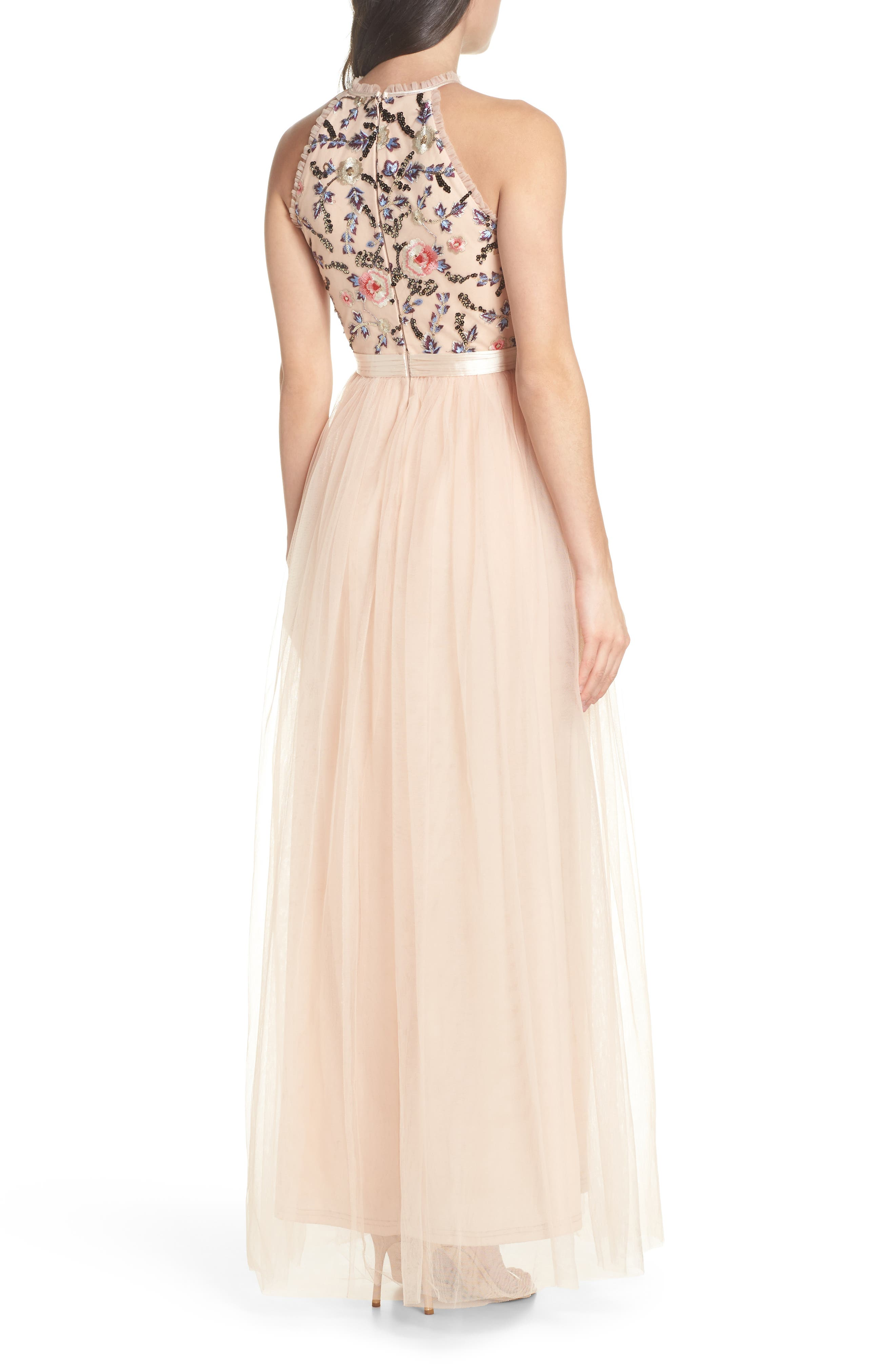Cydney Sequin Bodice Gown,                             Alternate thumbnail 2, color,                             NUDE