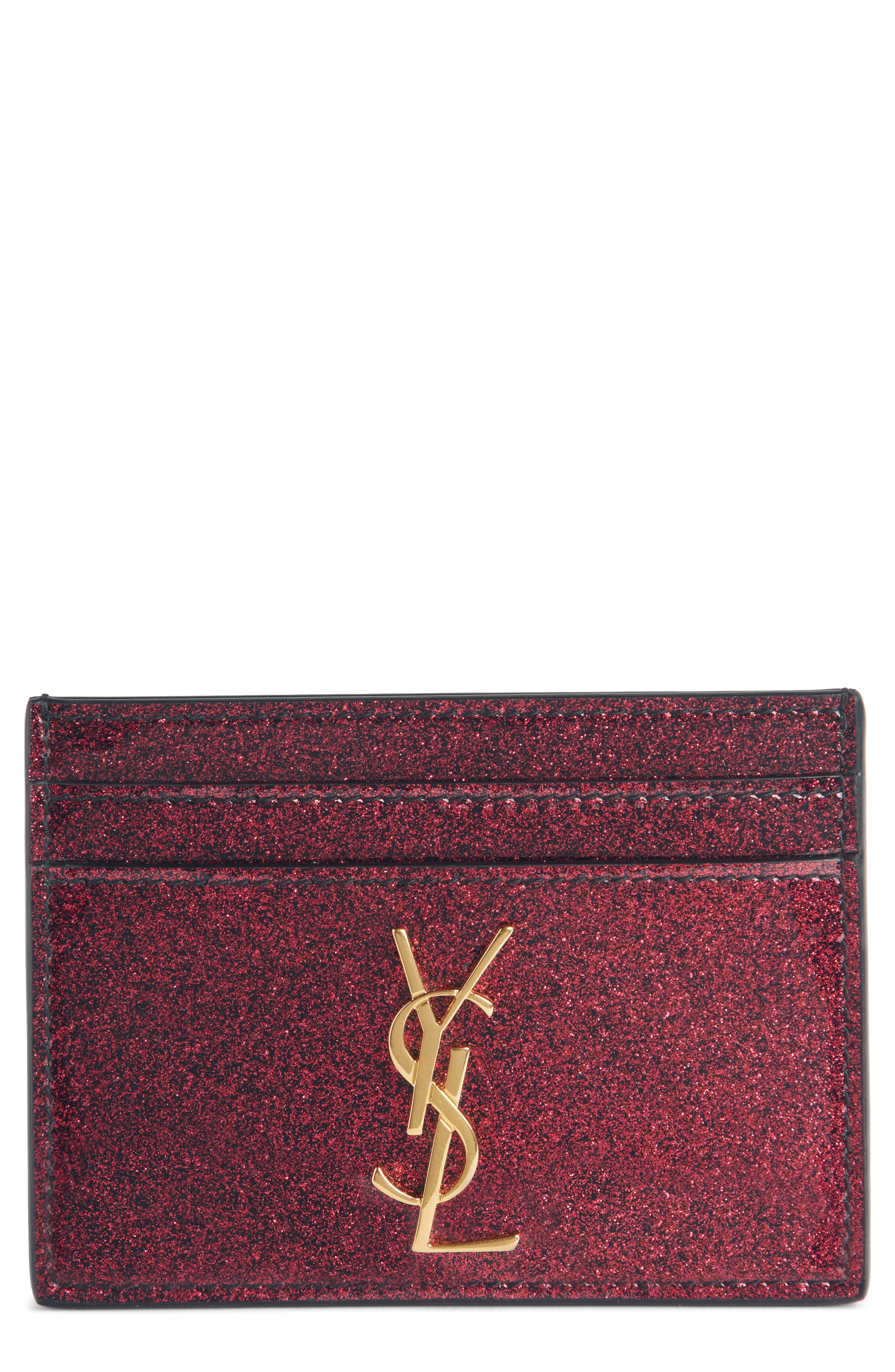 Monogram Vernis Glitter Calfskin Leather Card Case,                             Main thumbnail 1, color,                             SHOCKING PINK/ NOIR