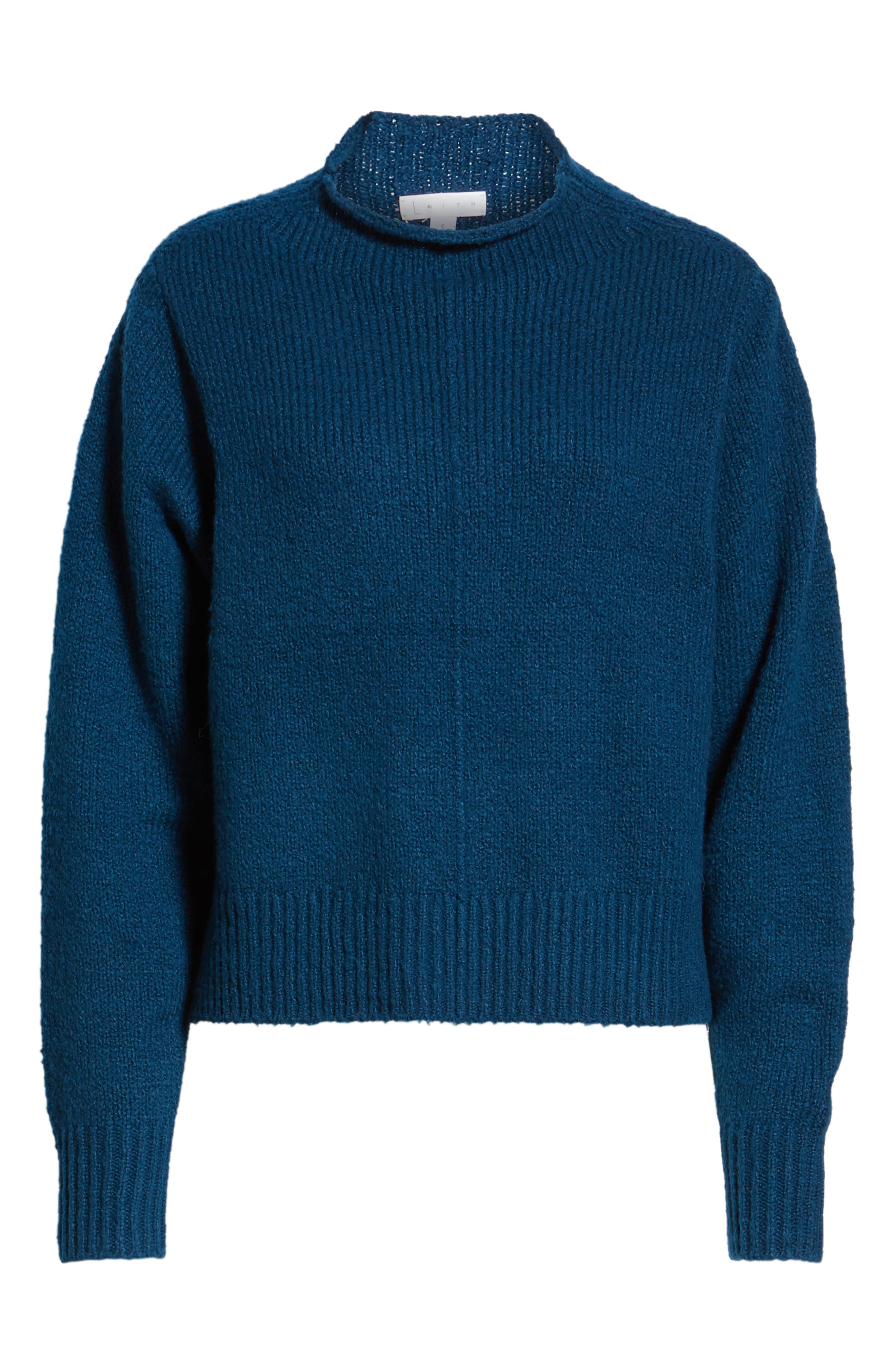 Fuzzy Side Slit Sweater,                             Alternate thumbnail 6, color,                             401