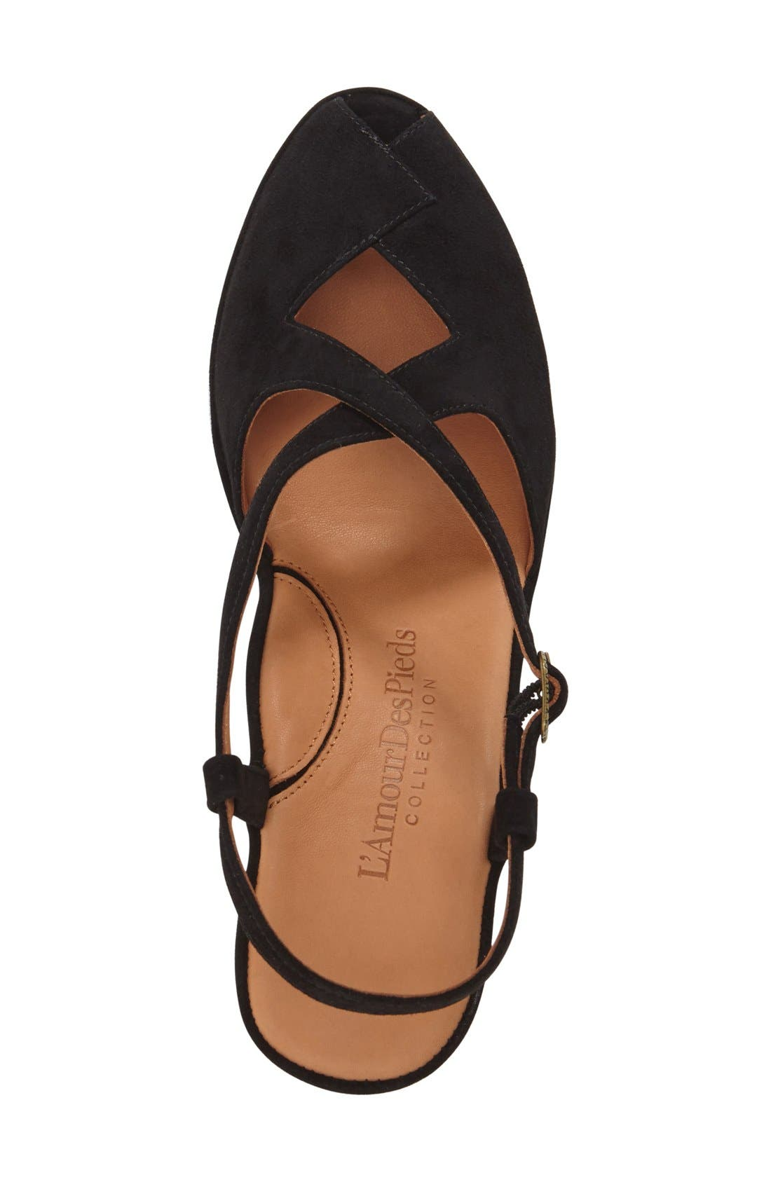 'Oraine' Sandal,                             Alternate thumbnail 3, color,                             BLACK SUEDE LEATHER