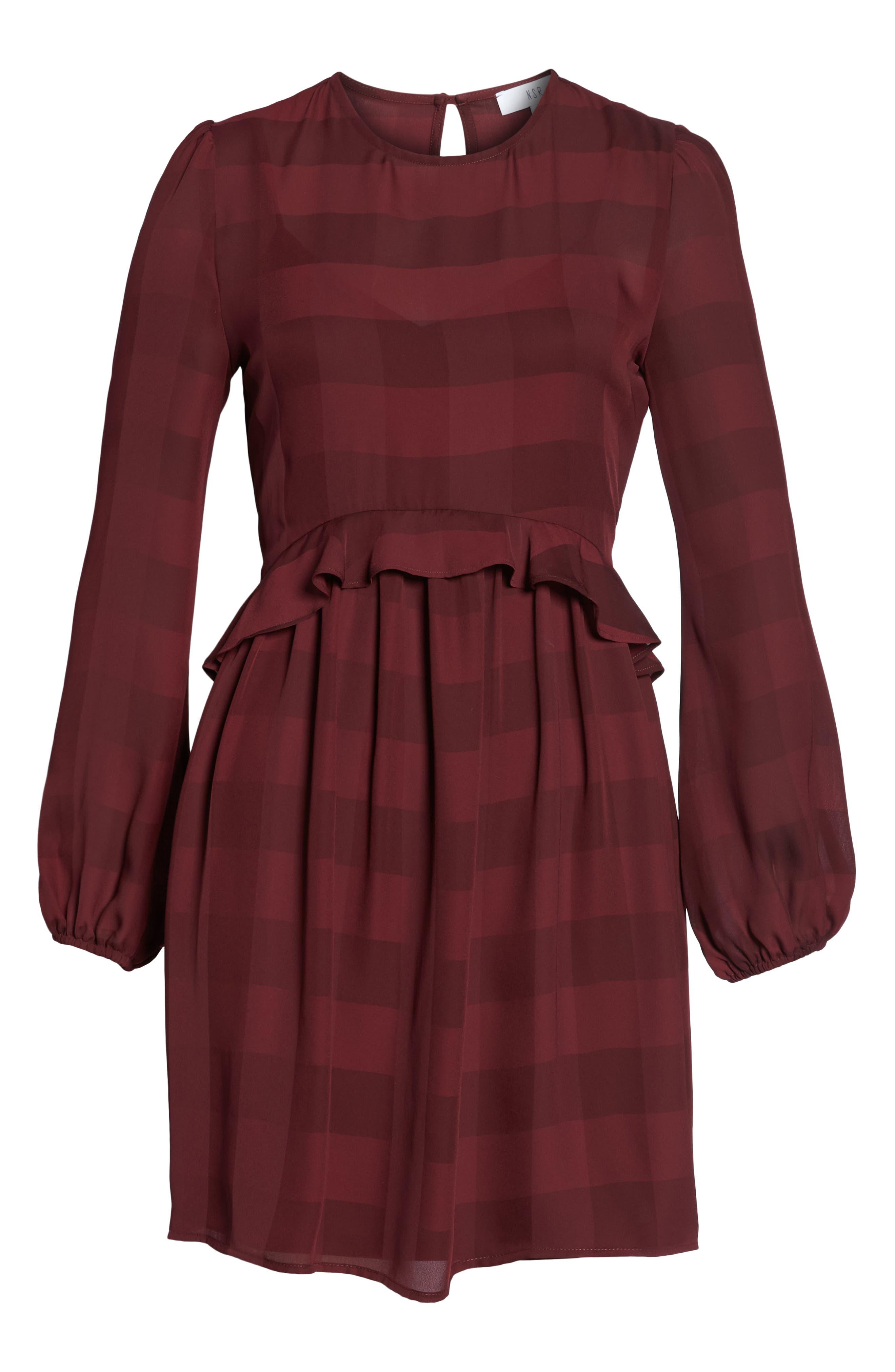 Heidi Ruffle Stripe Minidress,                             Alternate thumbnail 7, color,                             BURGUNDY