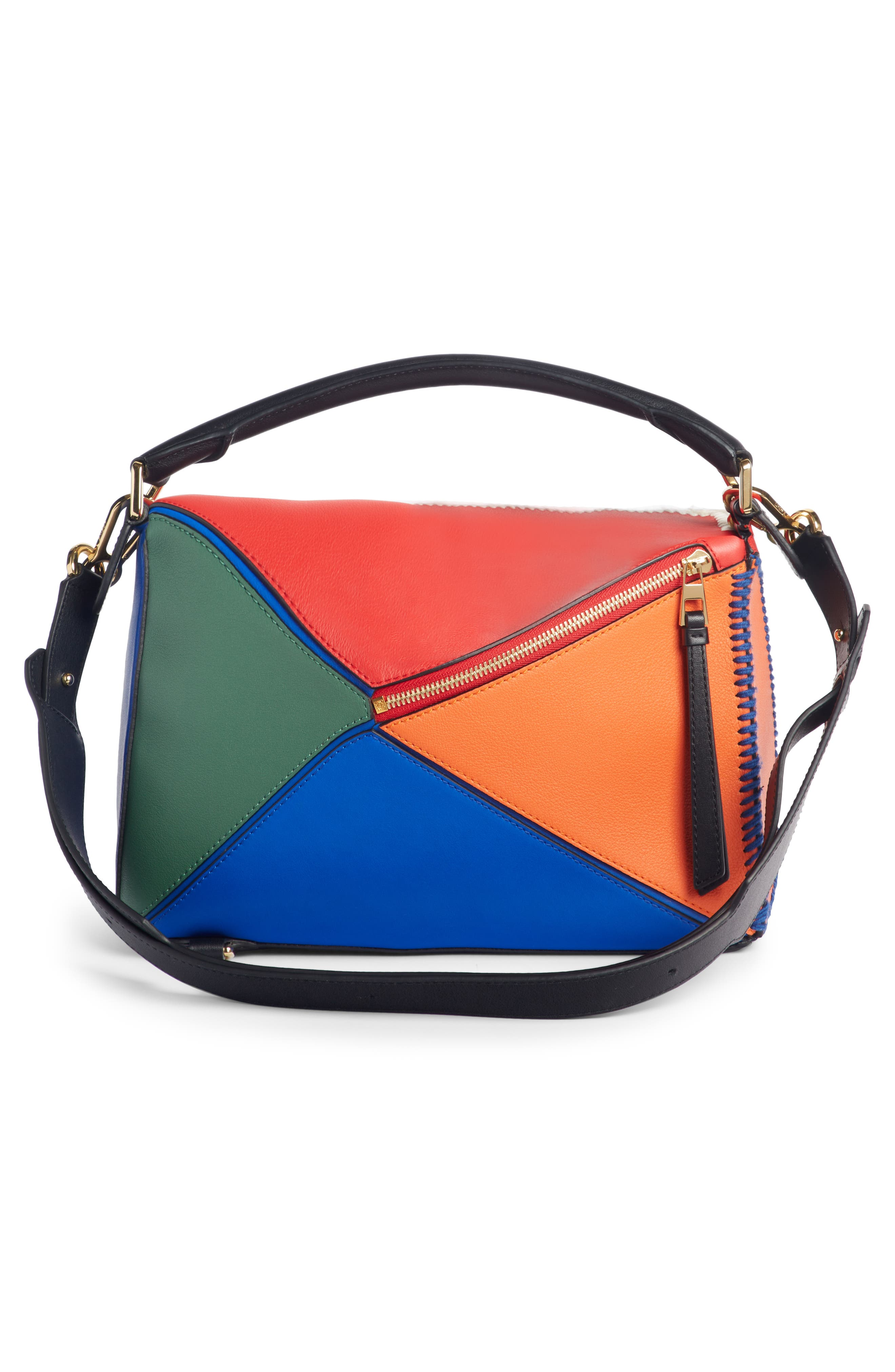 Puzzle Calfskin Leather Bag,                             Alternate thumbnail 3, color,                             RED MULTI