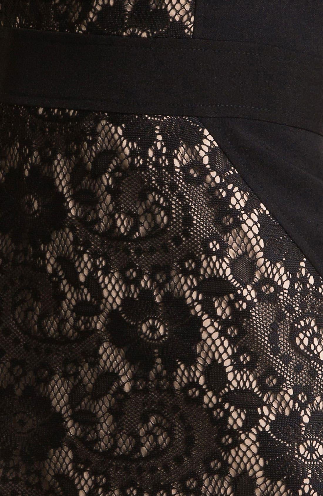 Lace Inset Crepe Sheath Dress,                             Alternate thumbnail 2, color,                             001