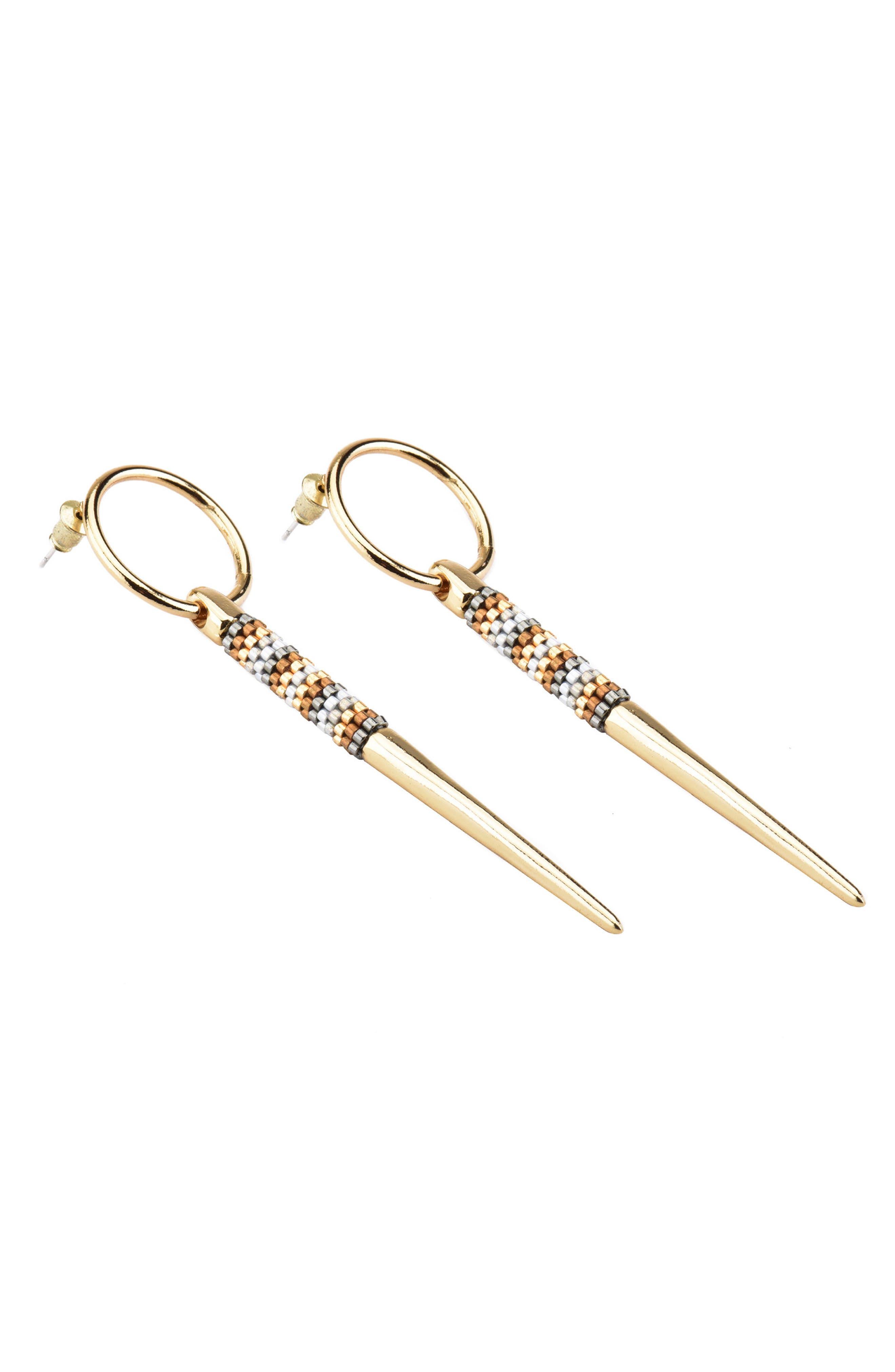 Spike & Bead Hoop Earrings,                         Main,                         color, 041