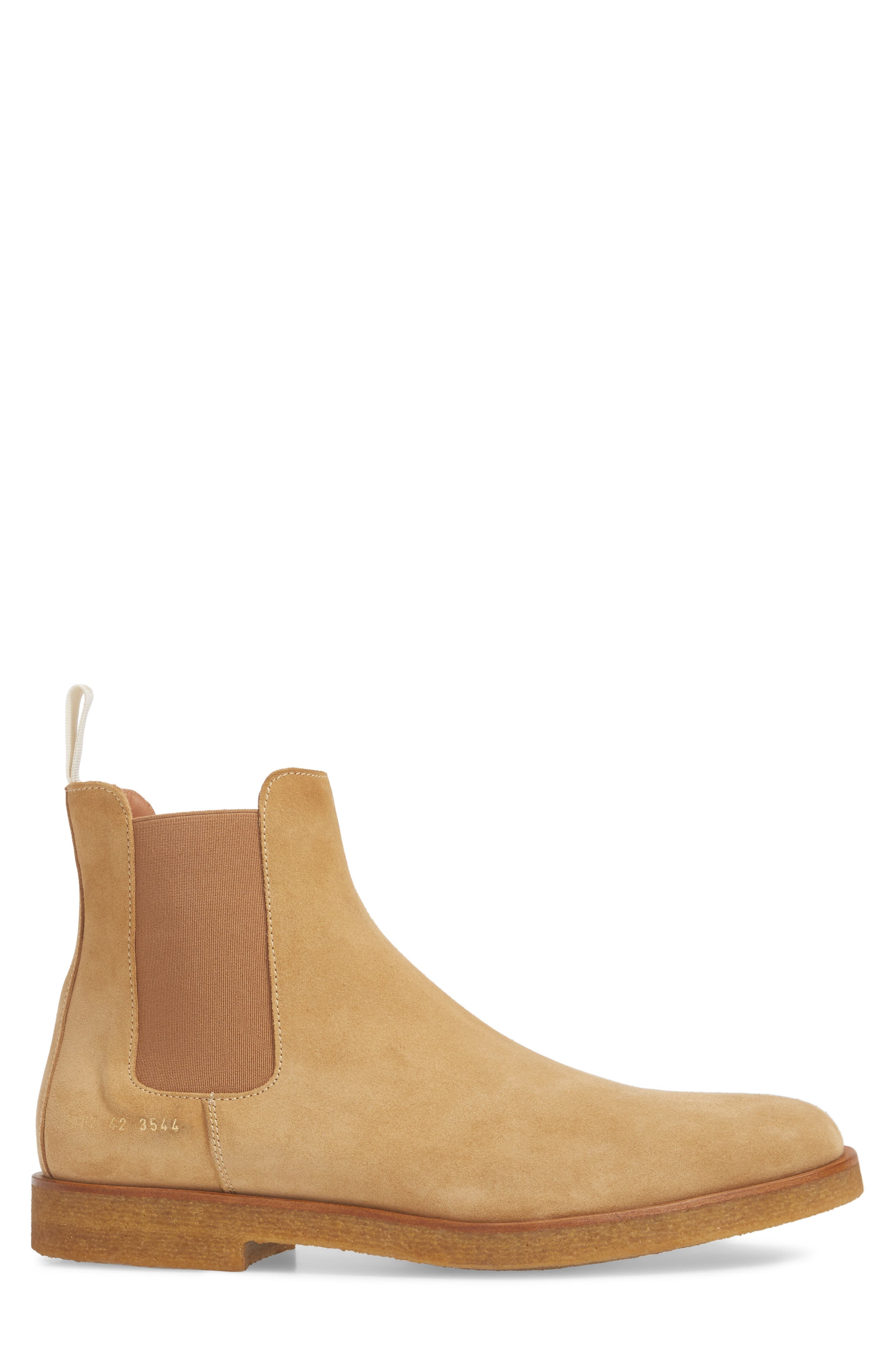 Chelsea Boot,                             Alternate thumbnail 3, color,                             AMBER SUEDE