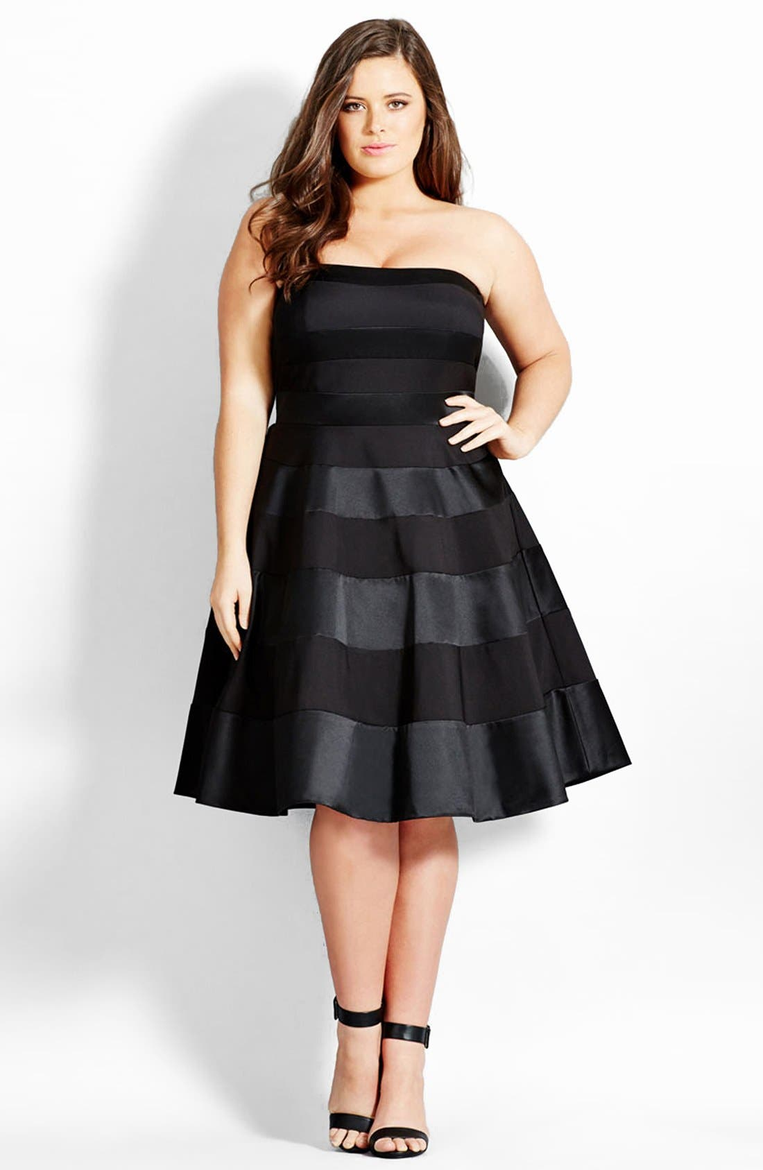 'Miss Shady' Stripe Strapless Fit & Flare Party Dress,                             Main thumbnail 1, color,                             BLACK