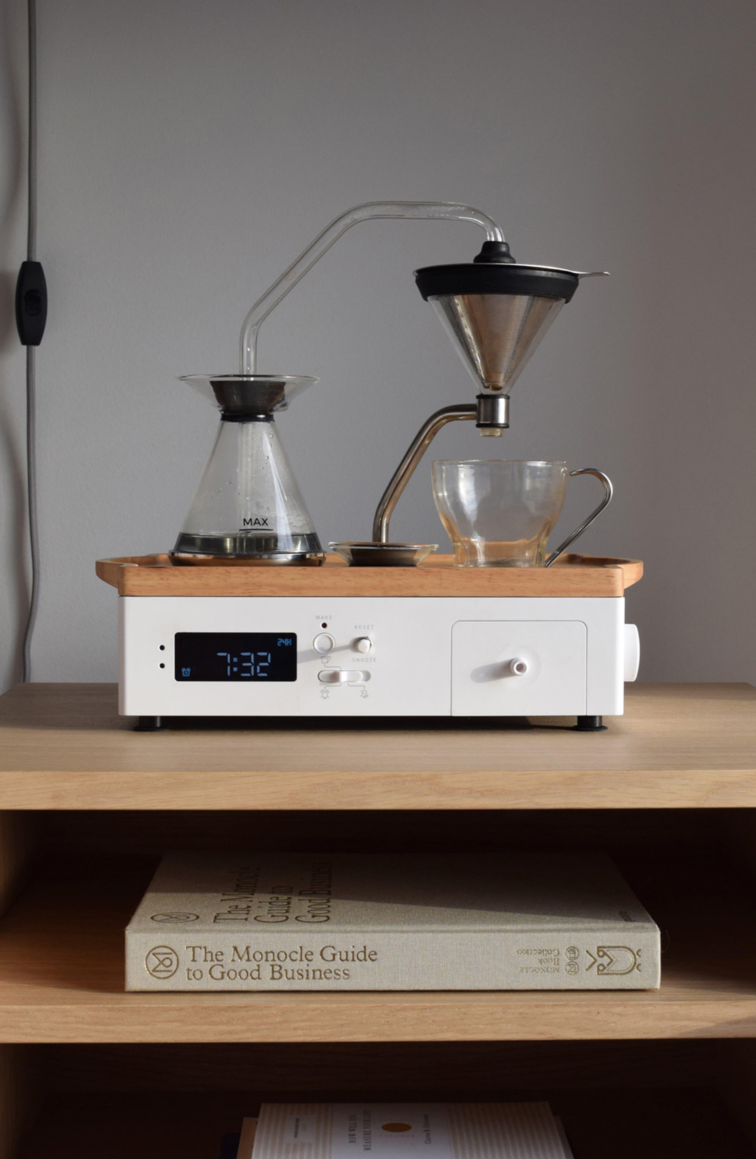 Soda Says x Barisieur Coffee & Tea Alarm Clock,                             Alternate thumbnail 11, color,                             WHITE/ RUBBERWOOD