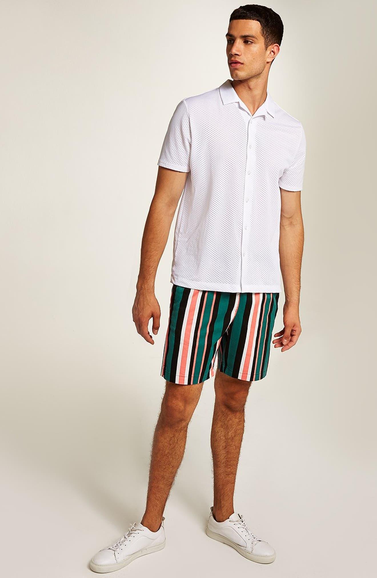 Slim Stripe Shorts,                             Alternate thumbnail 4, color,                             GREEN MULTI