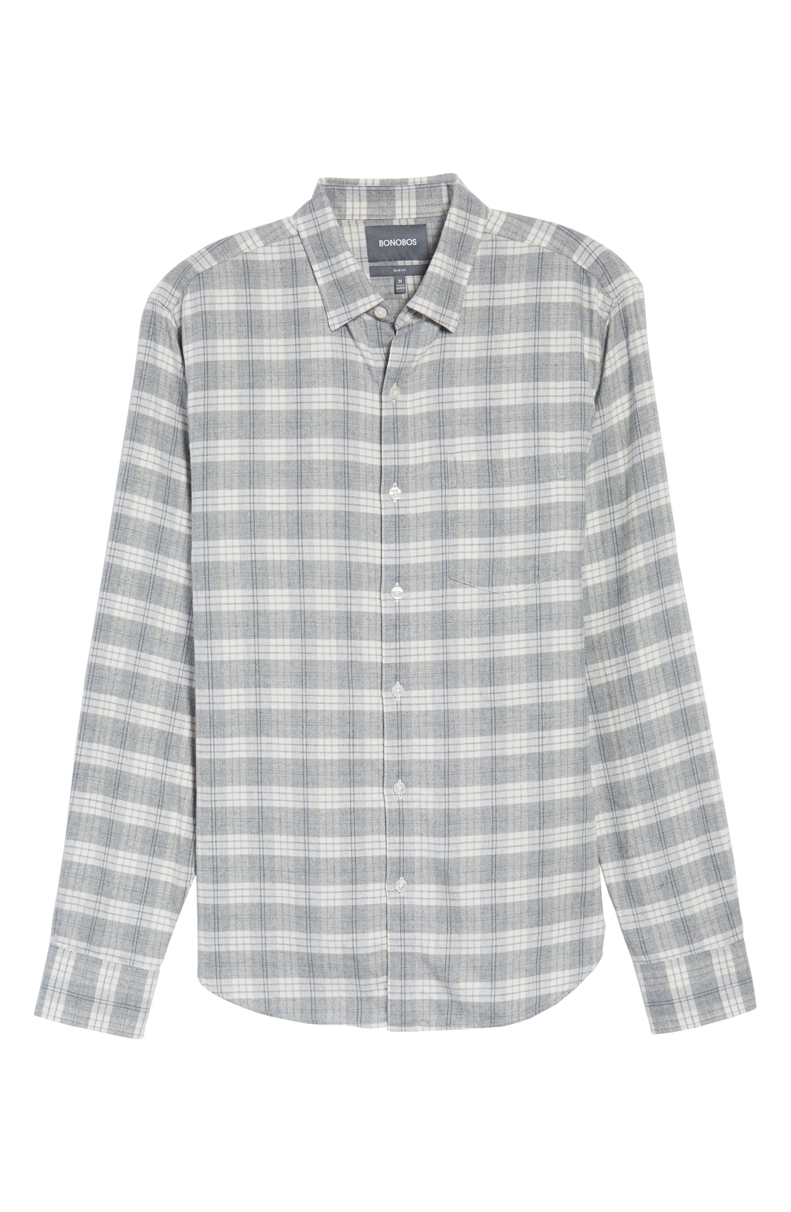 Slim Fit Plaid Twill Sport Shirt,                             Alternate thumbnail 6, color,                             020
