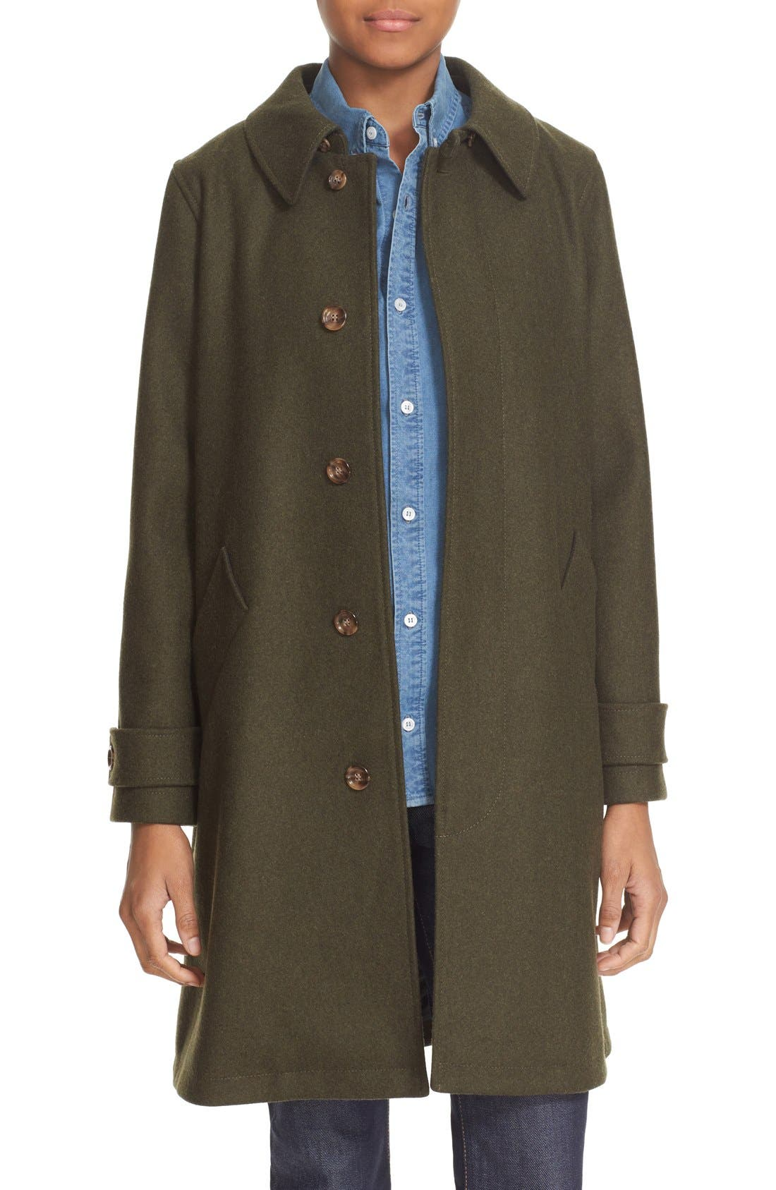 'Dinard' Wool Blend Mac Coat,                             Main thumbnail 1, color,                             300
