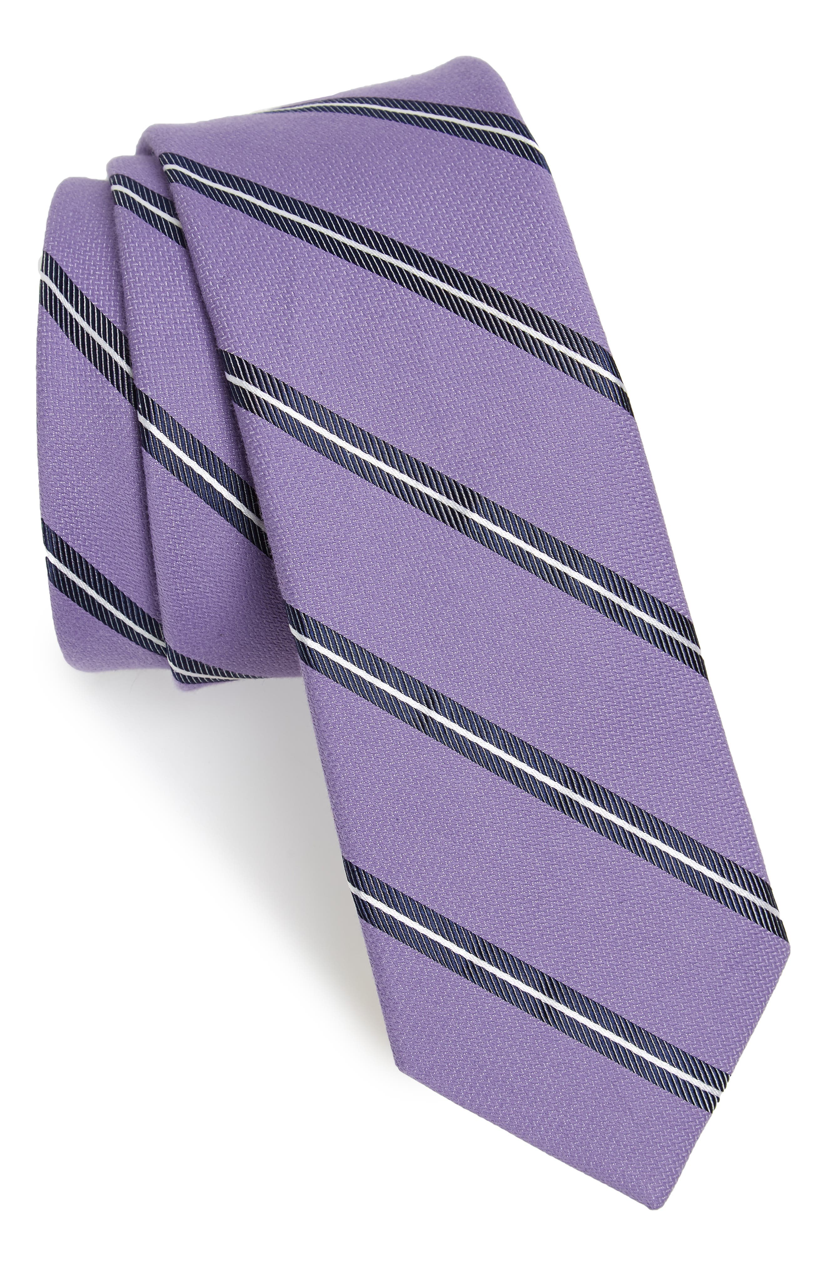 Edinger Stripe Silk & Cotton Tie,                             Main thumbnail 4, color,