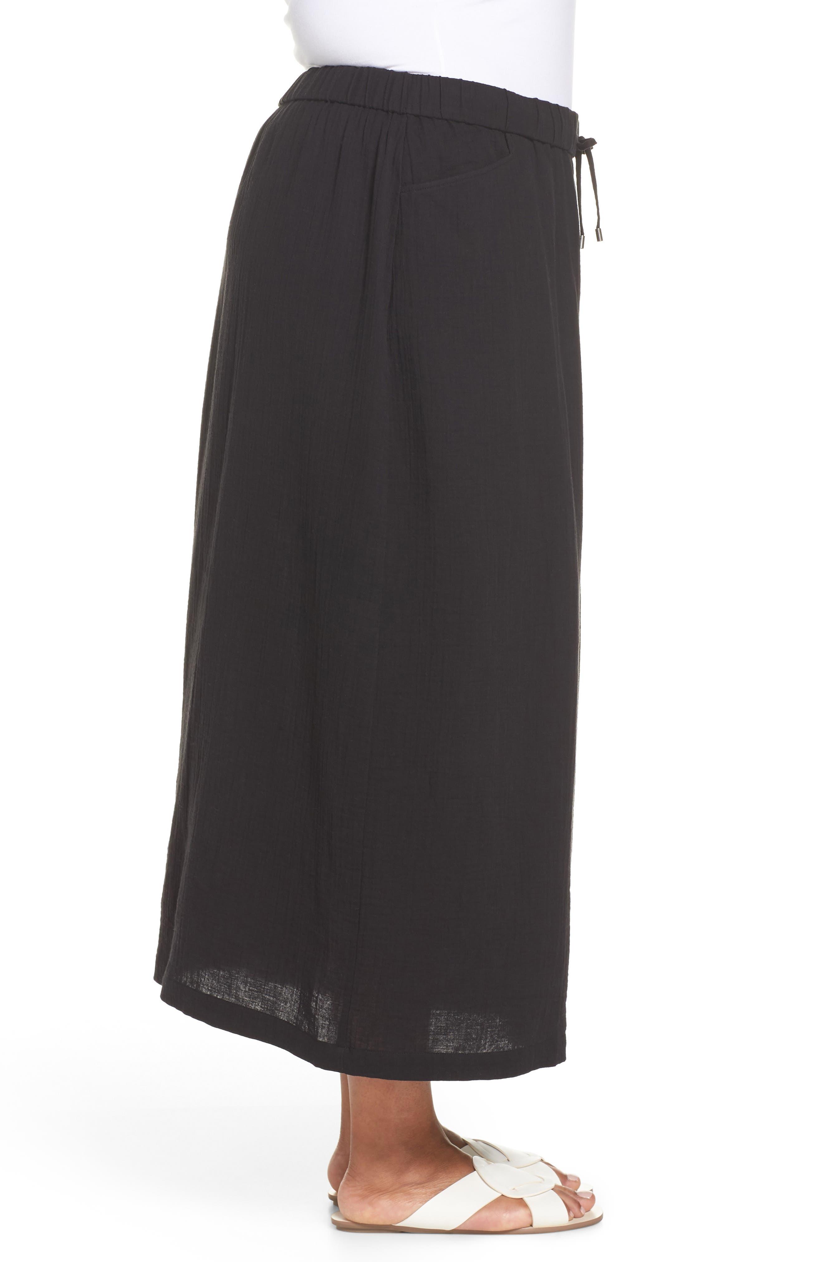 Drawstring Maxi Skirt,                             Alternate thumbnail 3, color,                             001