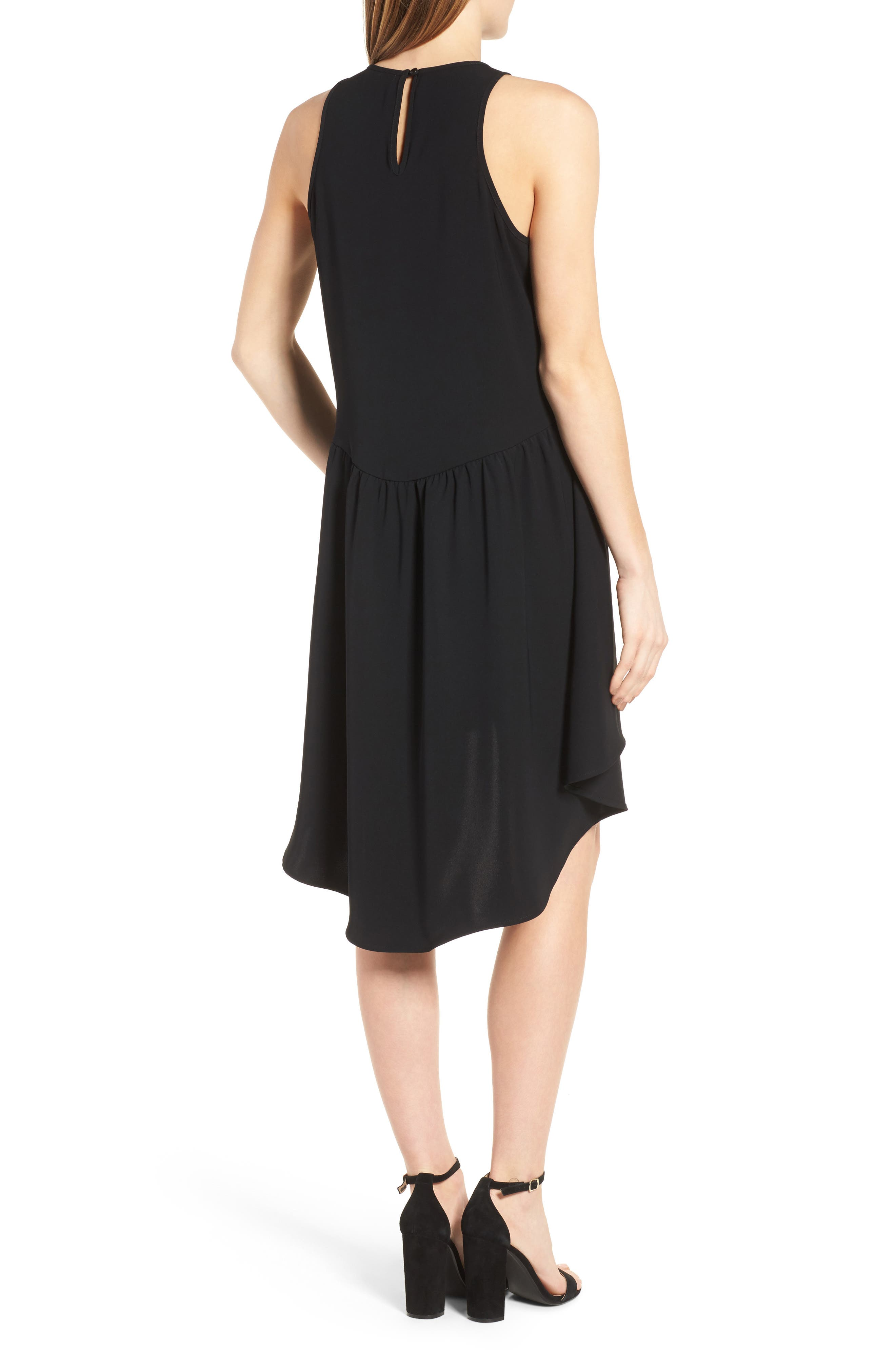 Ruffled High/Low Shift Dress,                             Alternate thumbnail 2, color,                             001