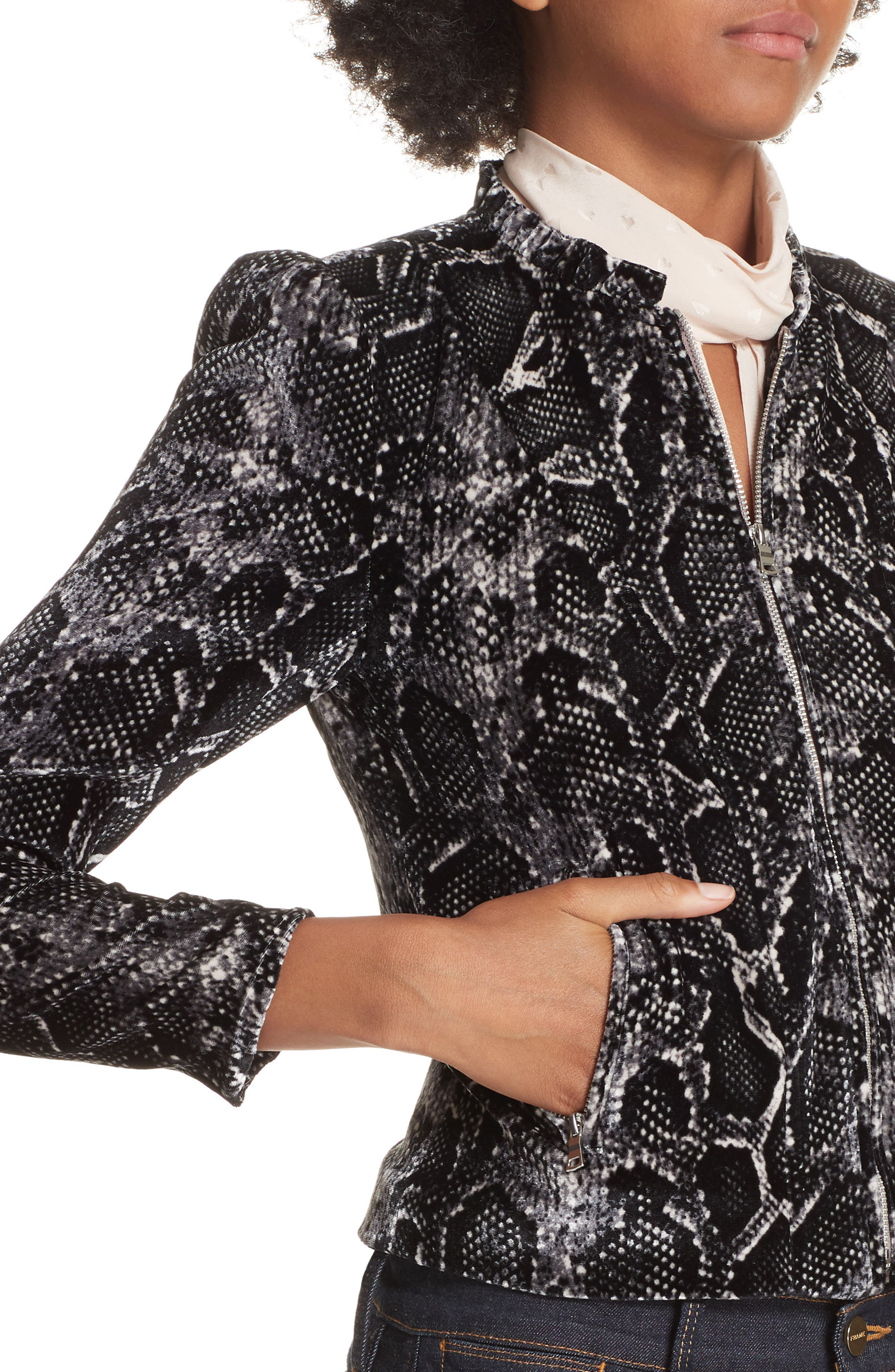 Snake Print Velvet Jacket,                             Alternate thumbnail 4, color,                             WASHED BLACK COMBO