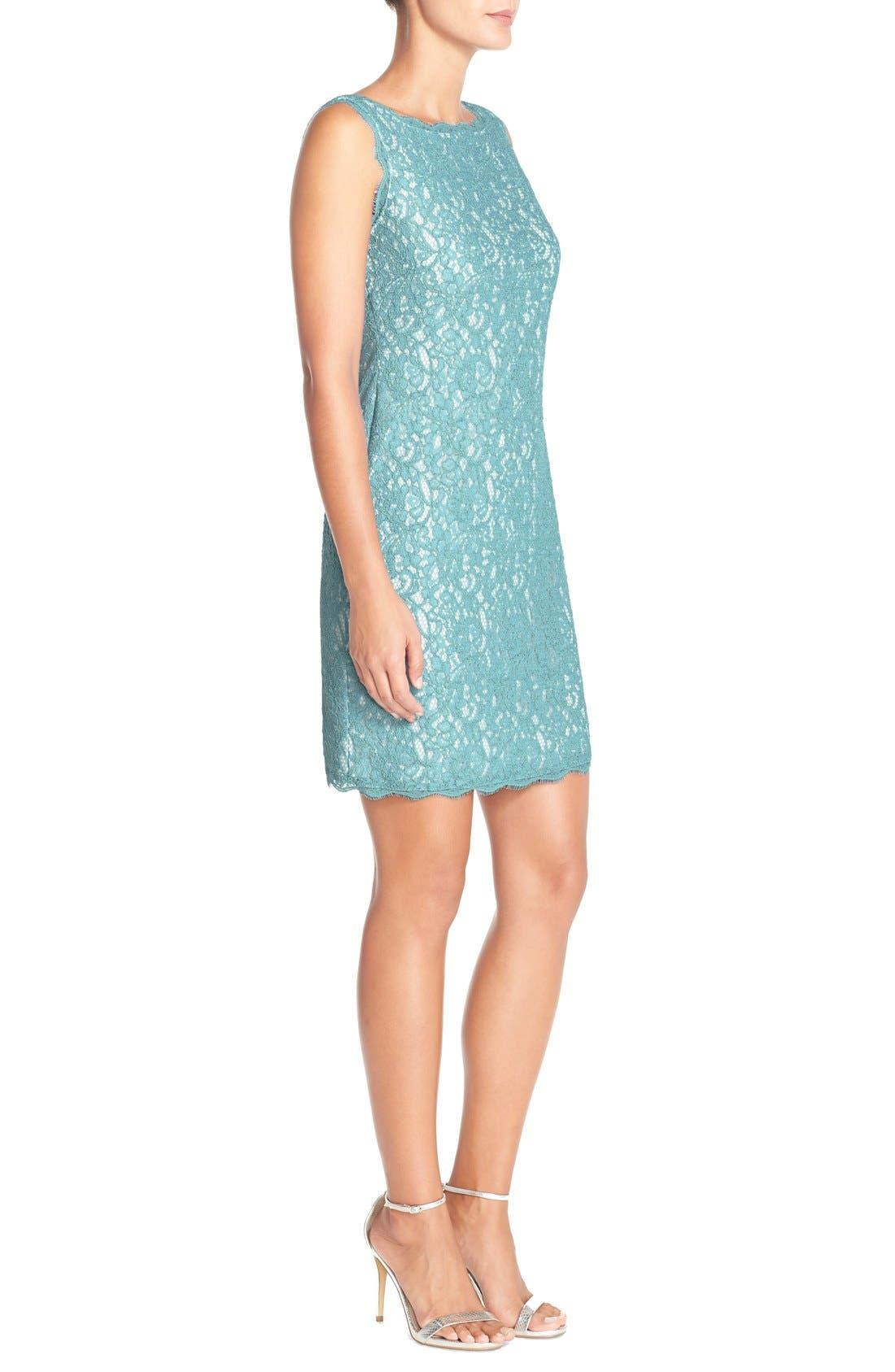 Boatneck Lace Sheath Dress,                             Alternate thumbnail 80, color,