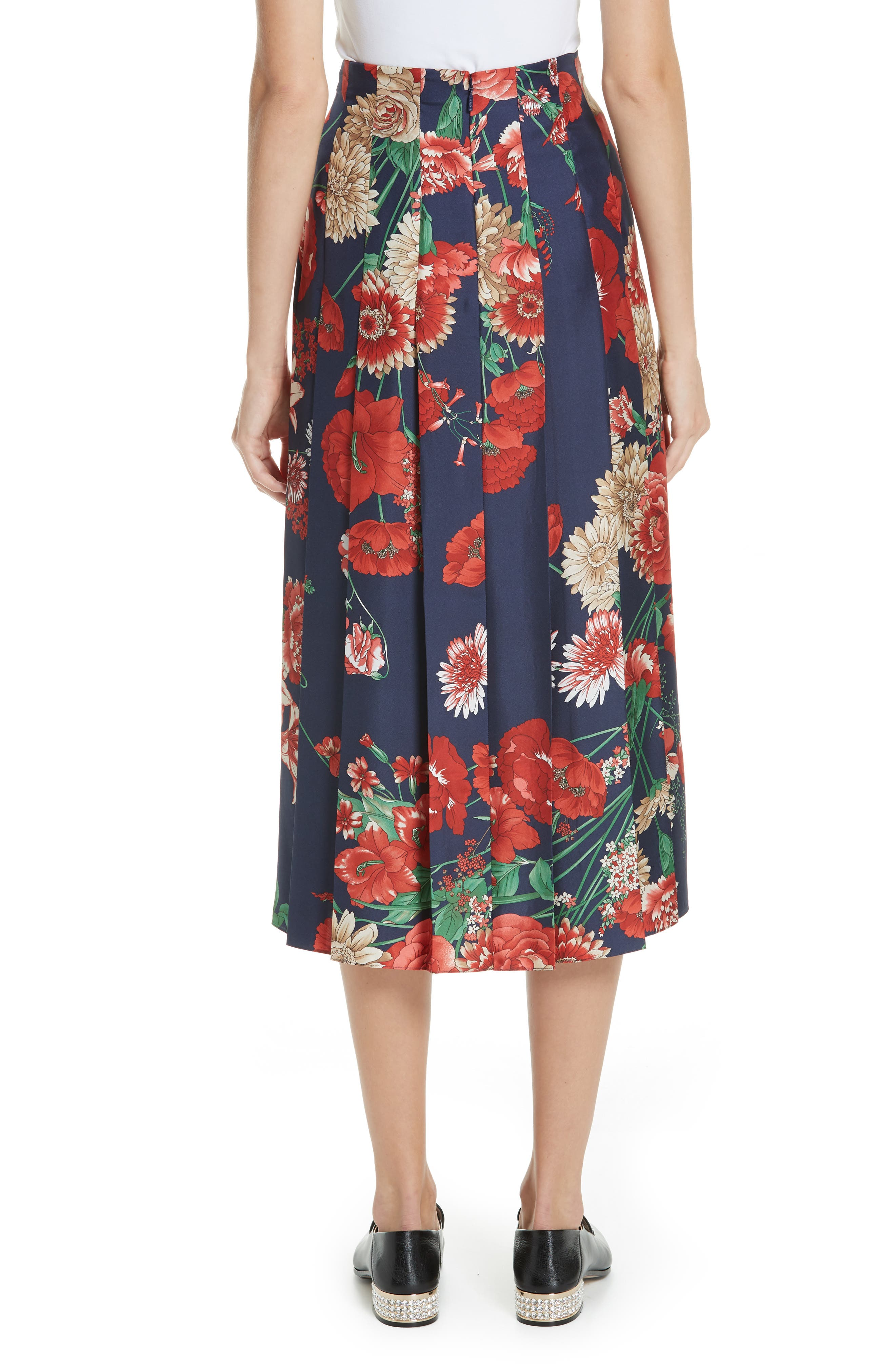 Spring Bouquet Print Silk Pleated Skirt,                             Alternate thumbnail 2, color,                             BLUE/ RED PRINT