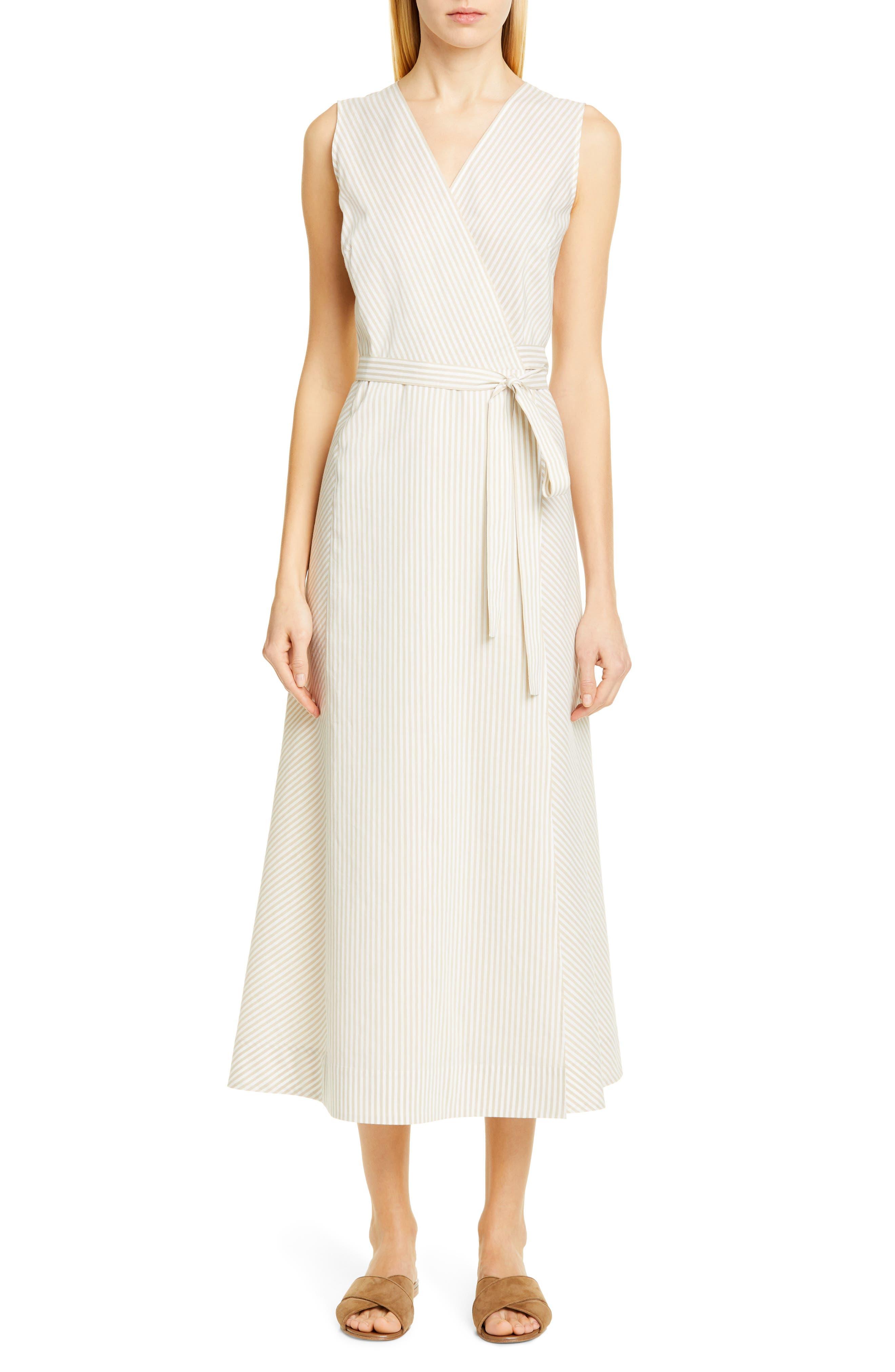 Lafayette 148 New York Siri Midi Wrap Dress, Beige