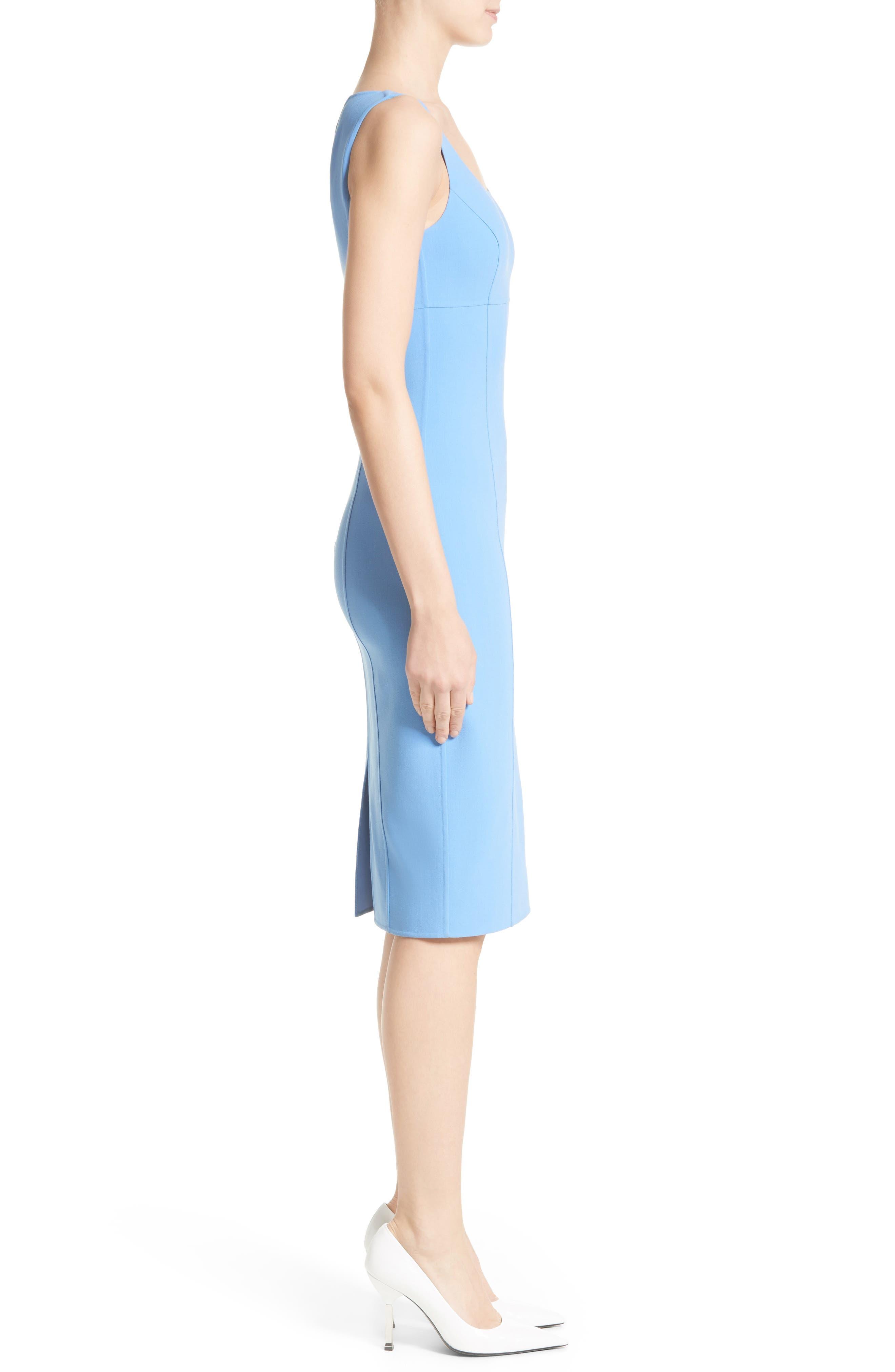 Stretch Wool Crepe Sheath Dress,                             Alternate thumbnail 3, color,                             495