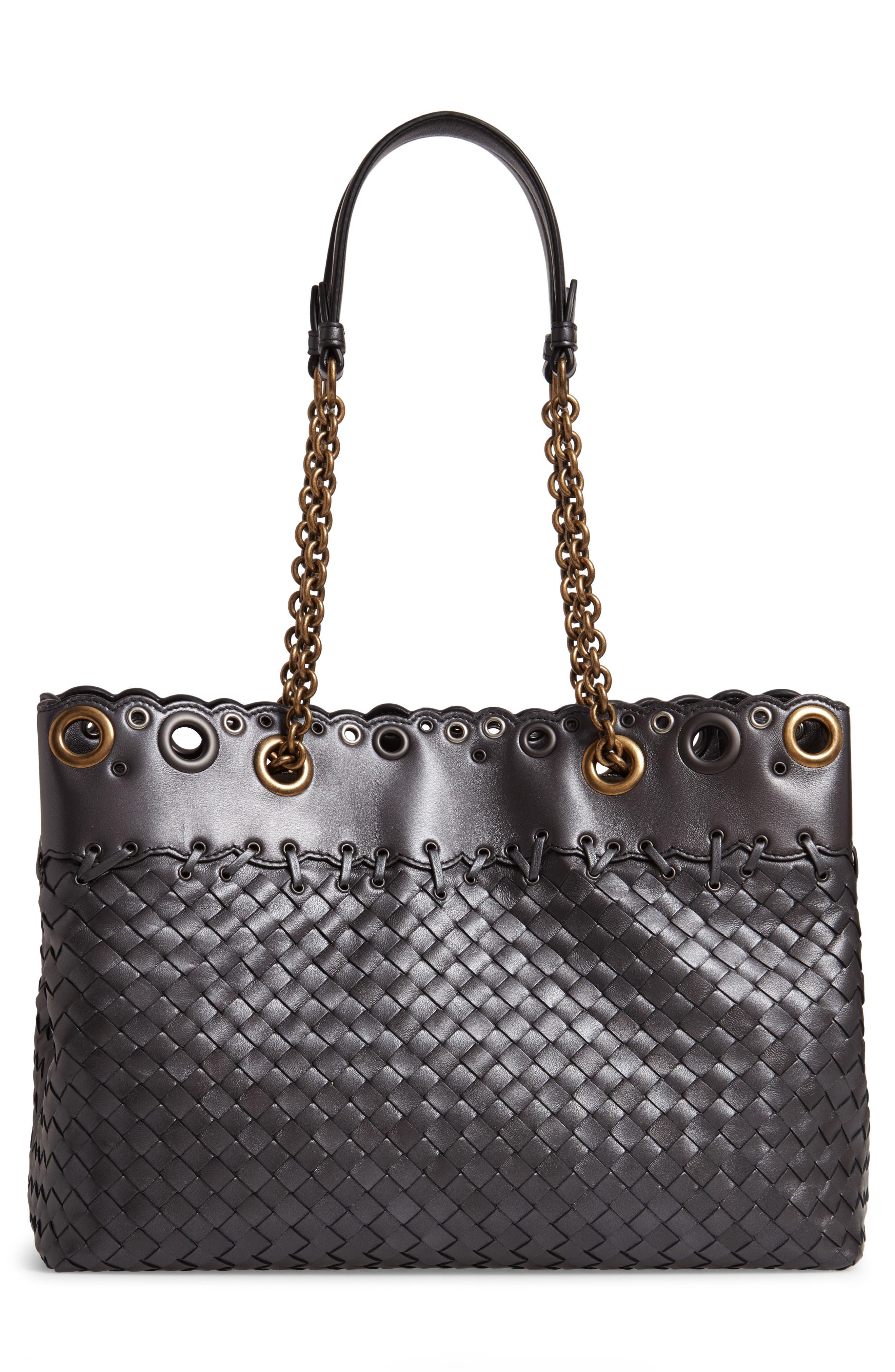 Intrecciato Leather Tote Bag,                             Alternate thumbnail 3, color,                             040