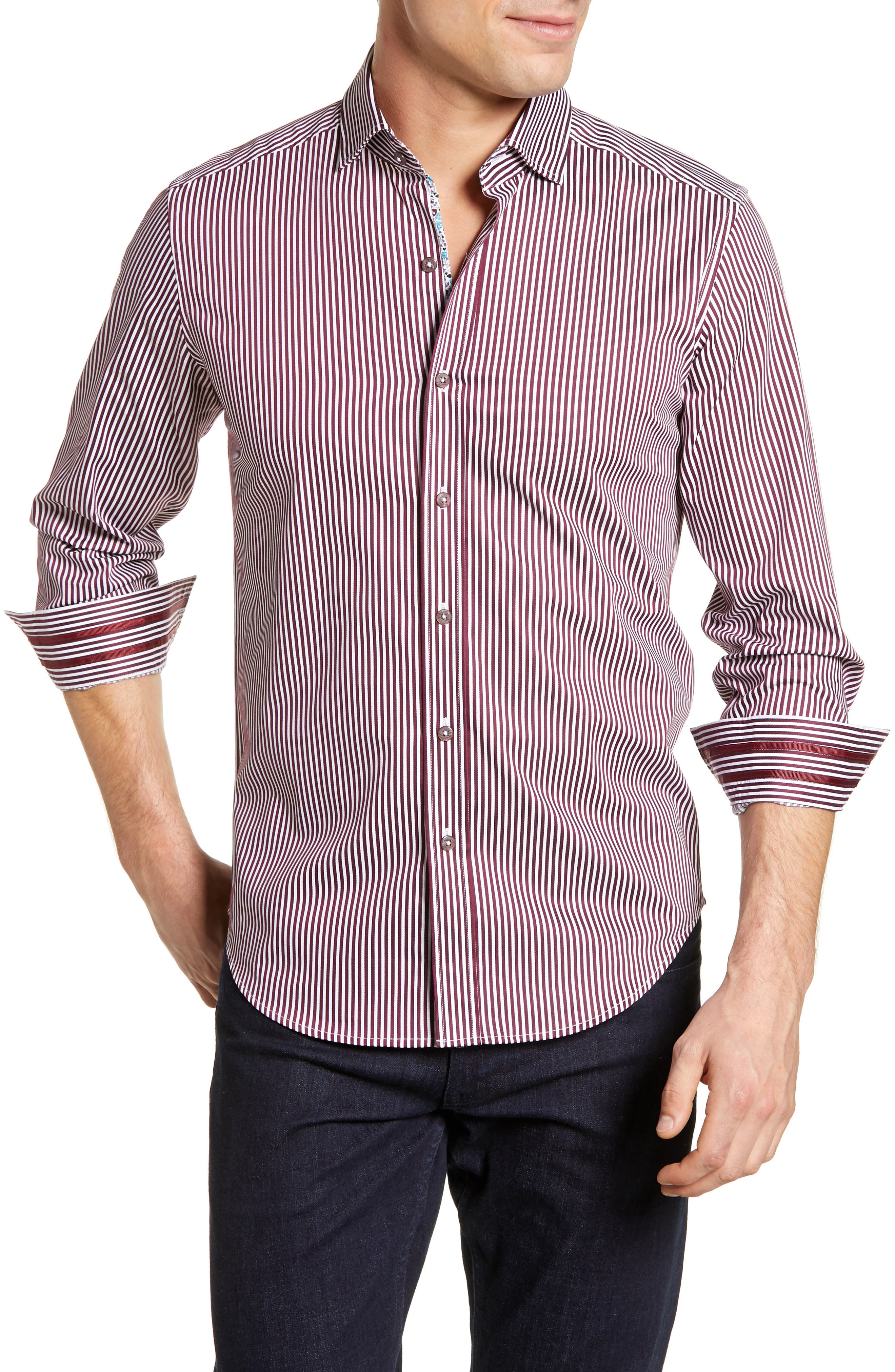 Luther Classic Fit Stripe Sport Shirt,                             Main thumbnail 1, color,                             BURGUNDY