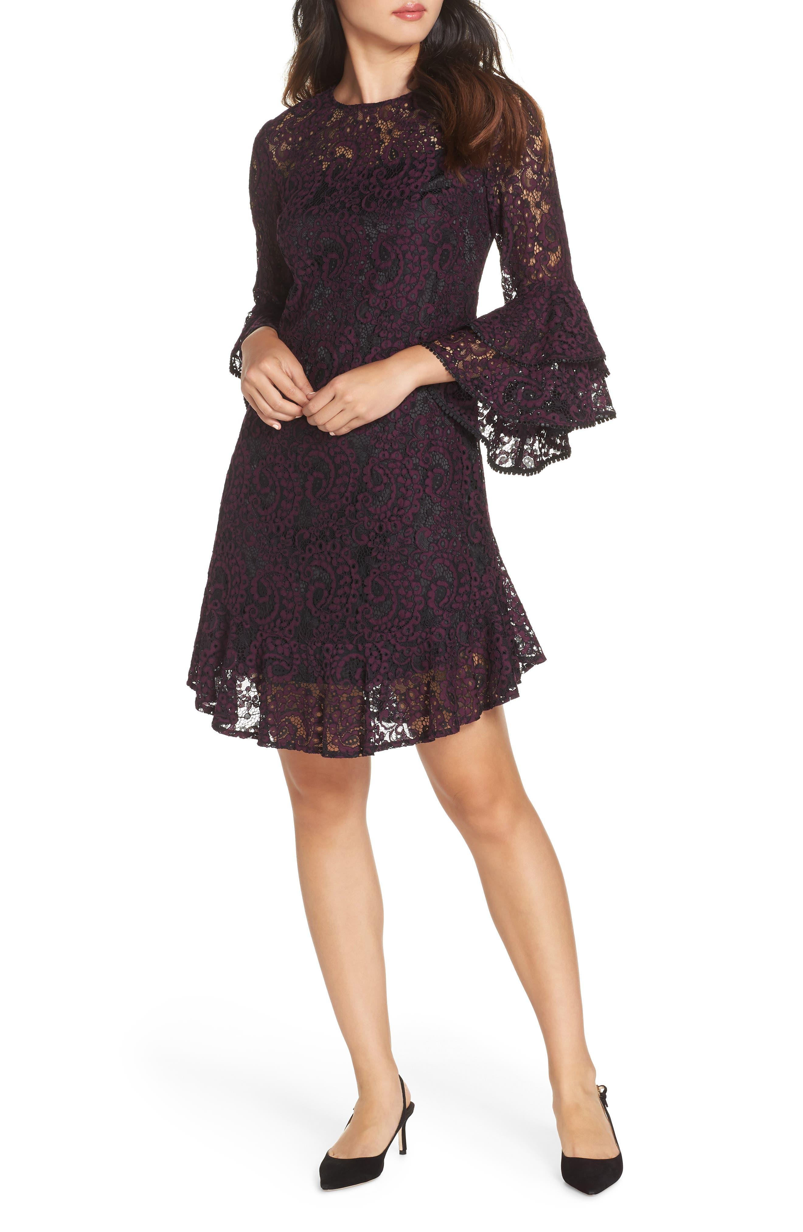 petite women's eliza j double ruffle lace dress, size 10p - purple