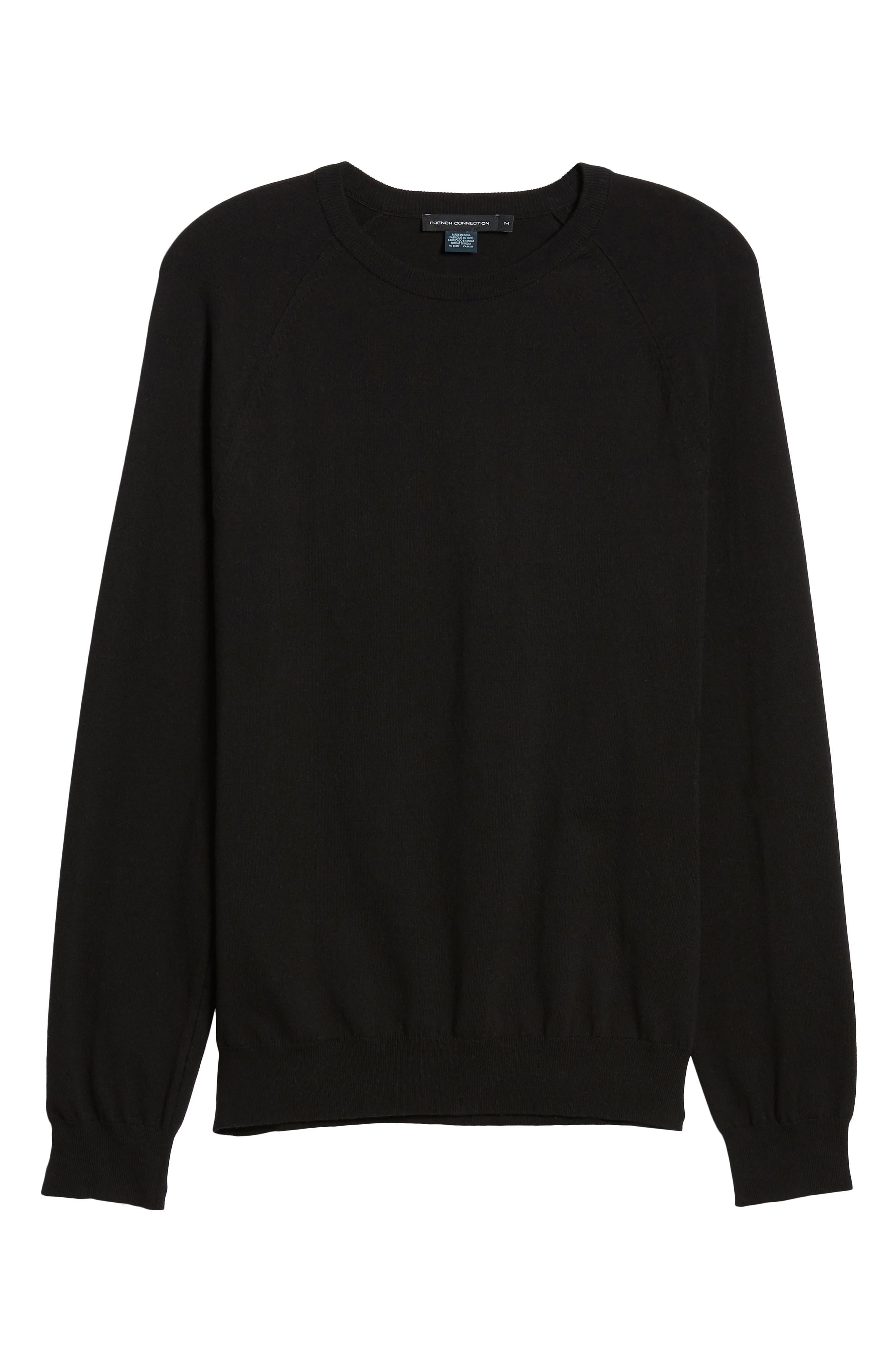 Regular Fit Stretch Cotton Crewneck Sweater,                             Alternate thumbnail 6, color,                             BLACK