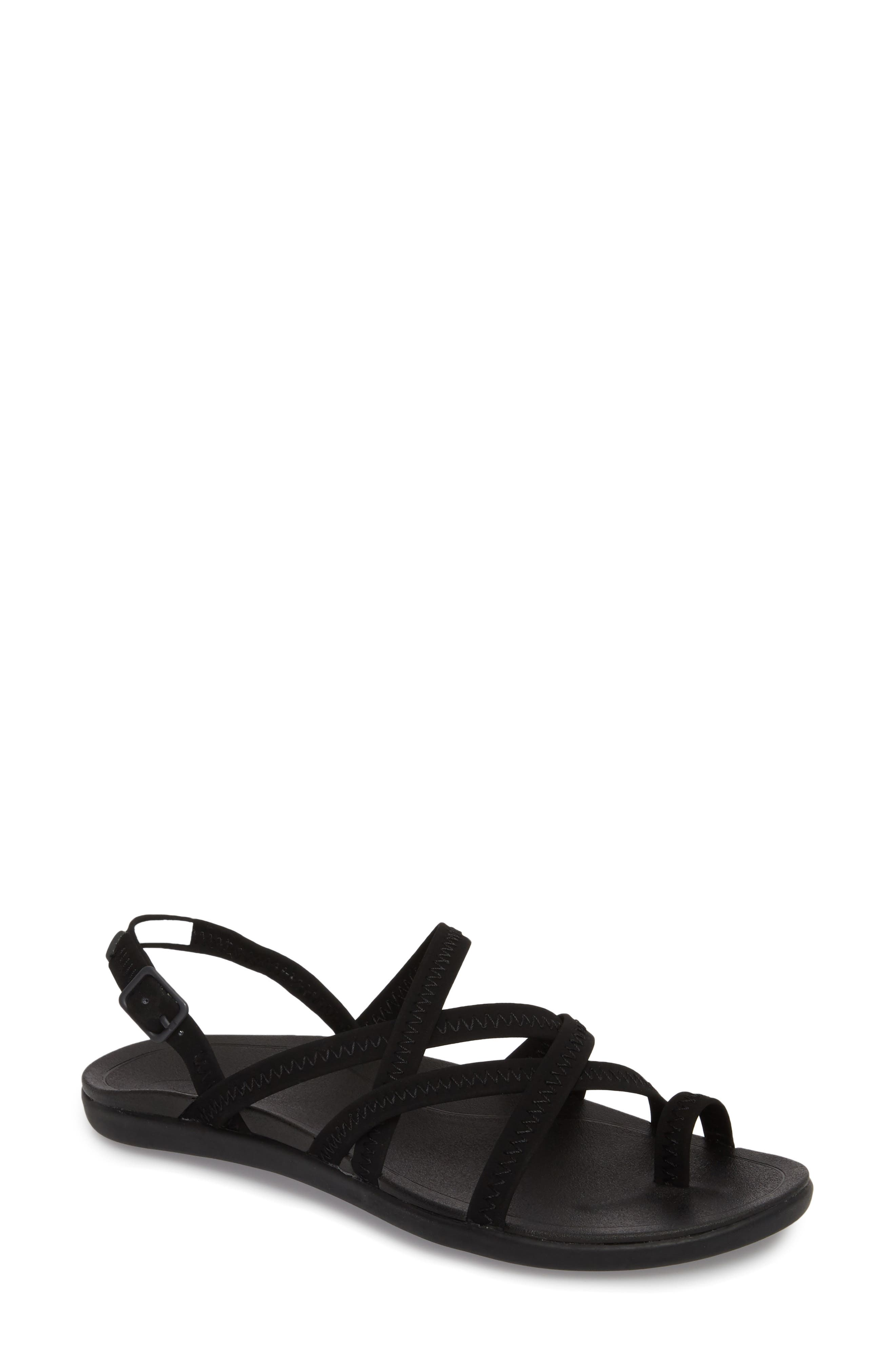 Kalapu Sandal,                         Main,                         color, BLACK/ BLACK FAUX LEATHER