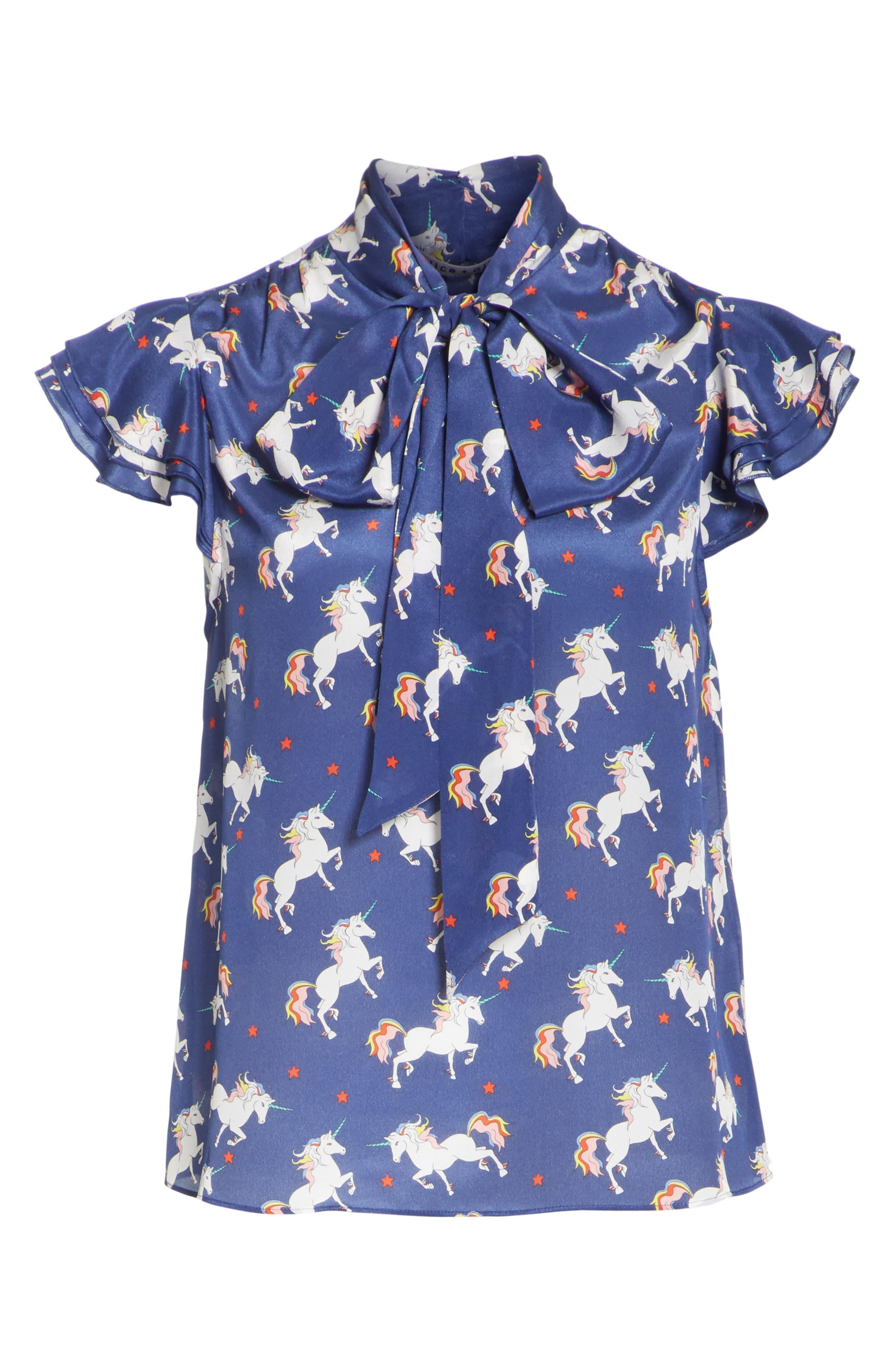 Laney Unicorn Flutter Sleeve Silk Blouse,                             Alternate thumbnail 6, color,                             416