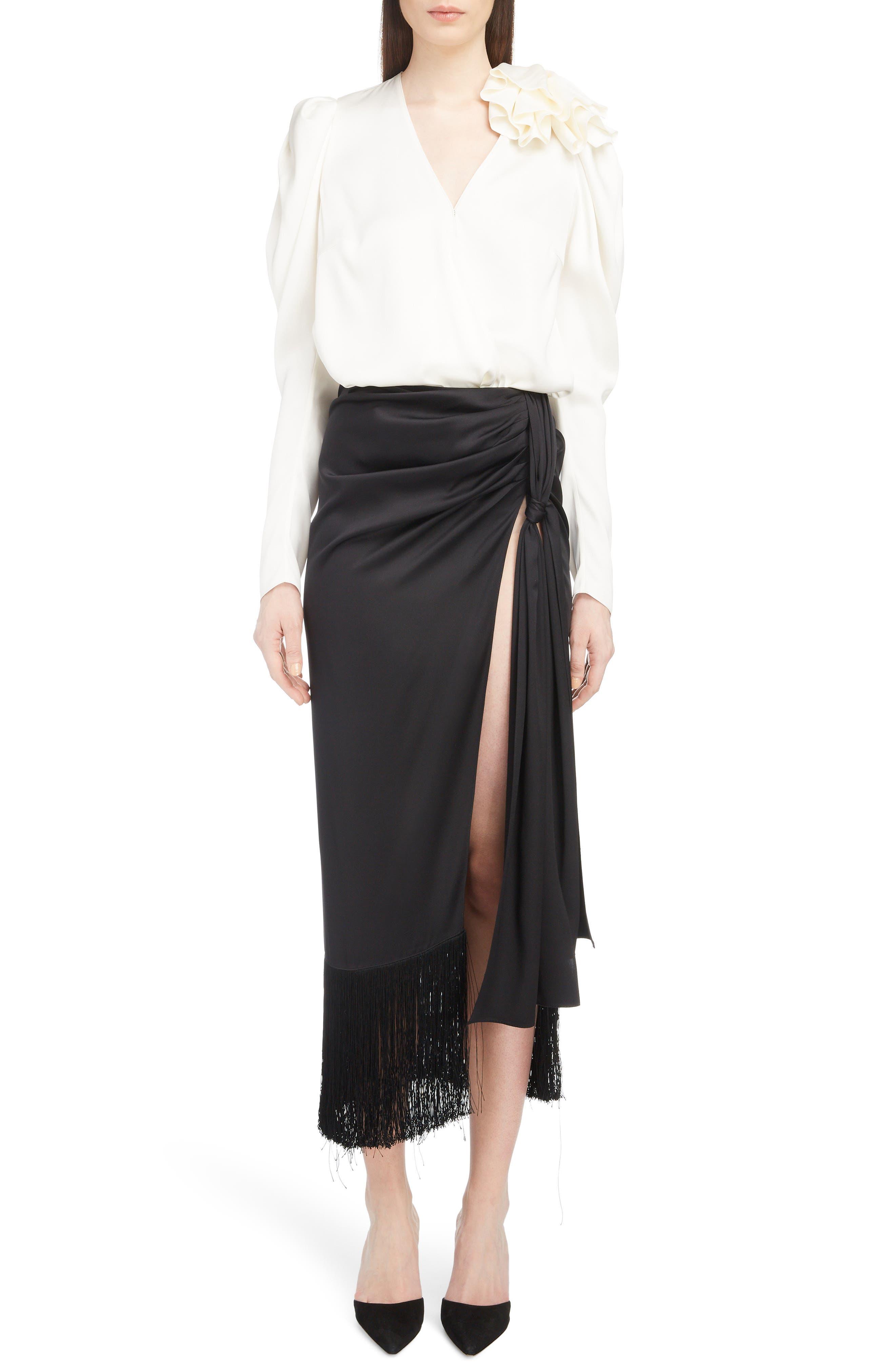 Fringe Trim Silk Skirt,                             Alternate thumbnail 6, color,                             BLACK
