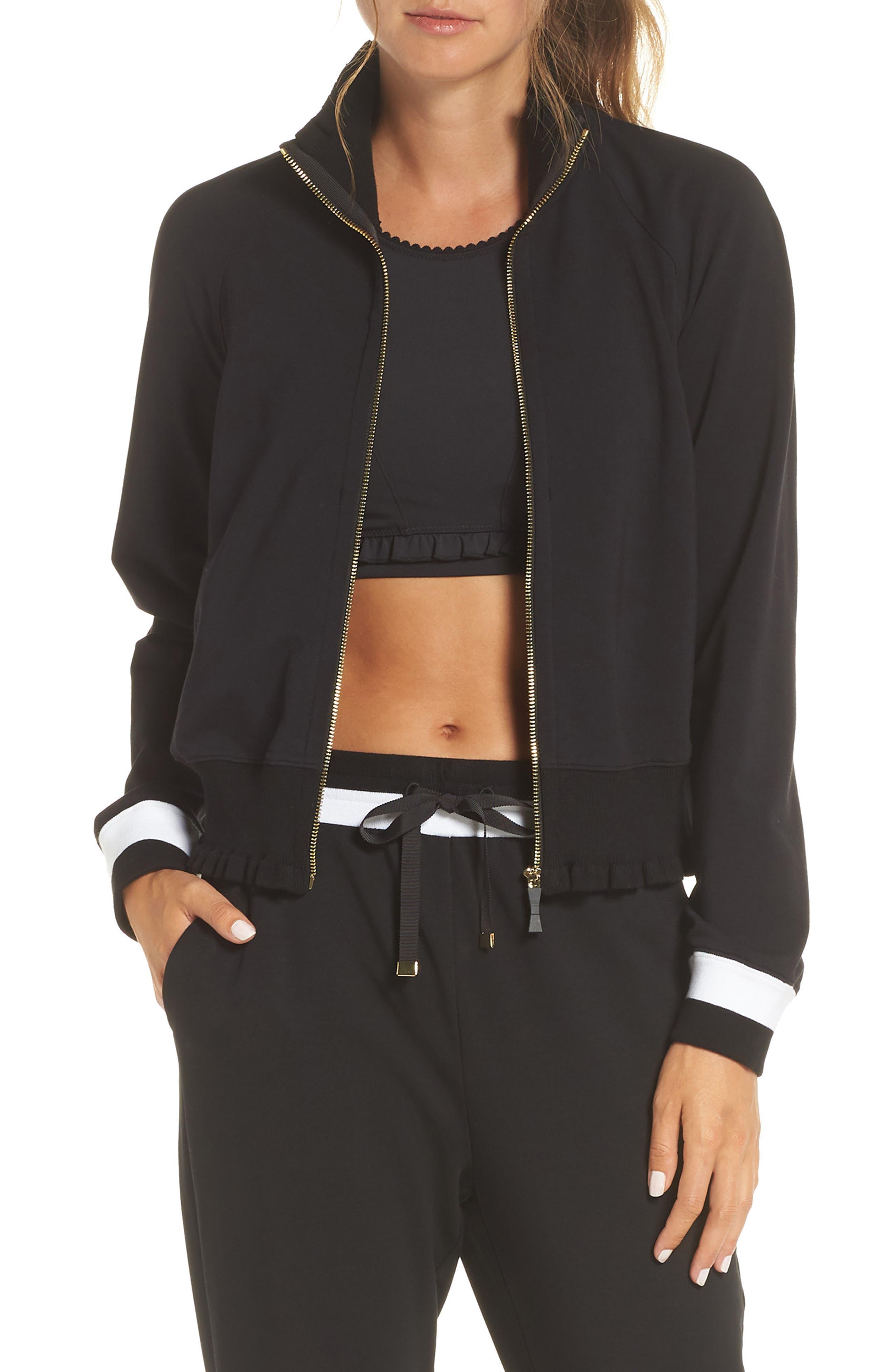 Kate Spade New York Ruffle Rib Jacket, Black