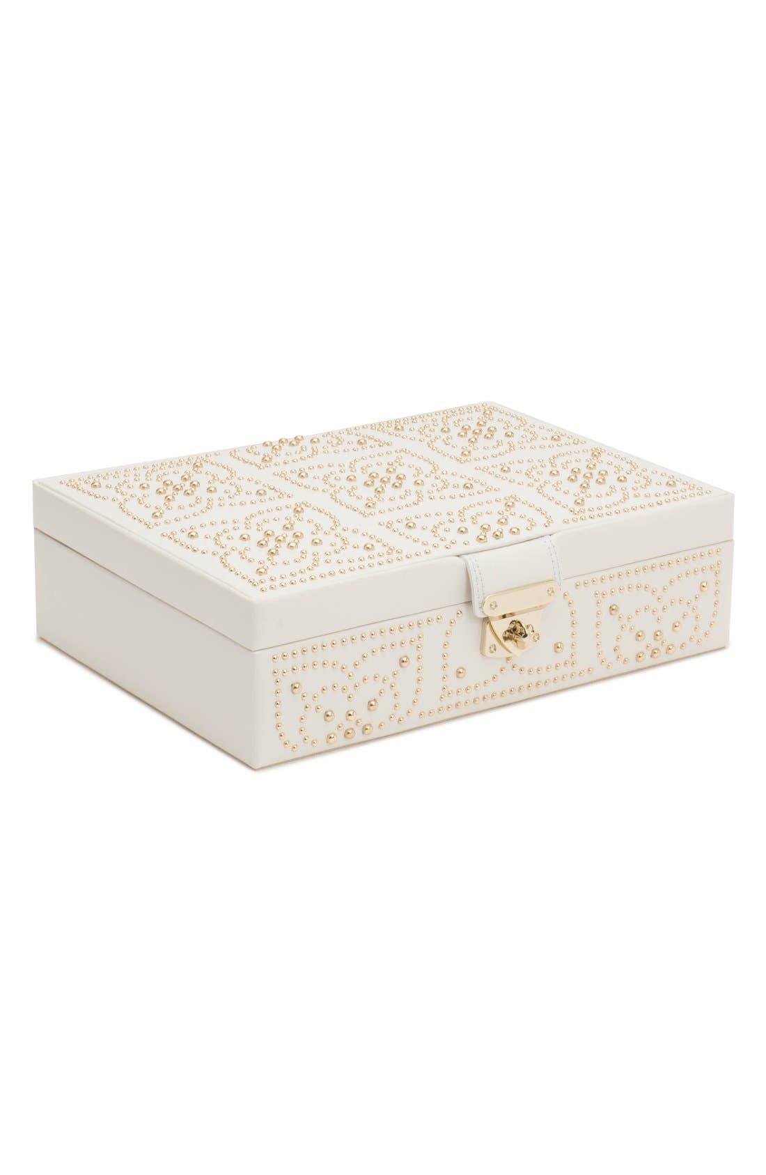 'Marrakesh' Flat Jewelry Box,                             Main thumbnail 1, color,                             CREAM