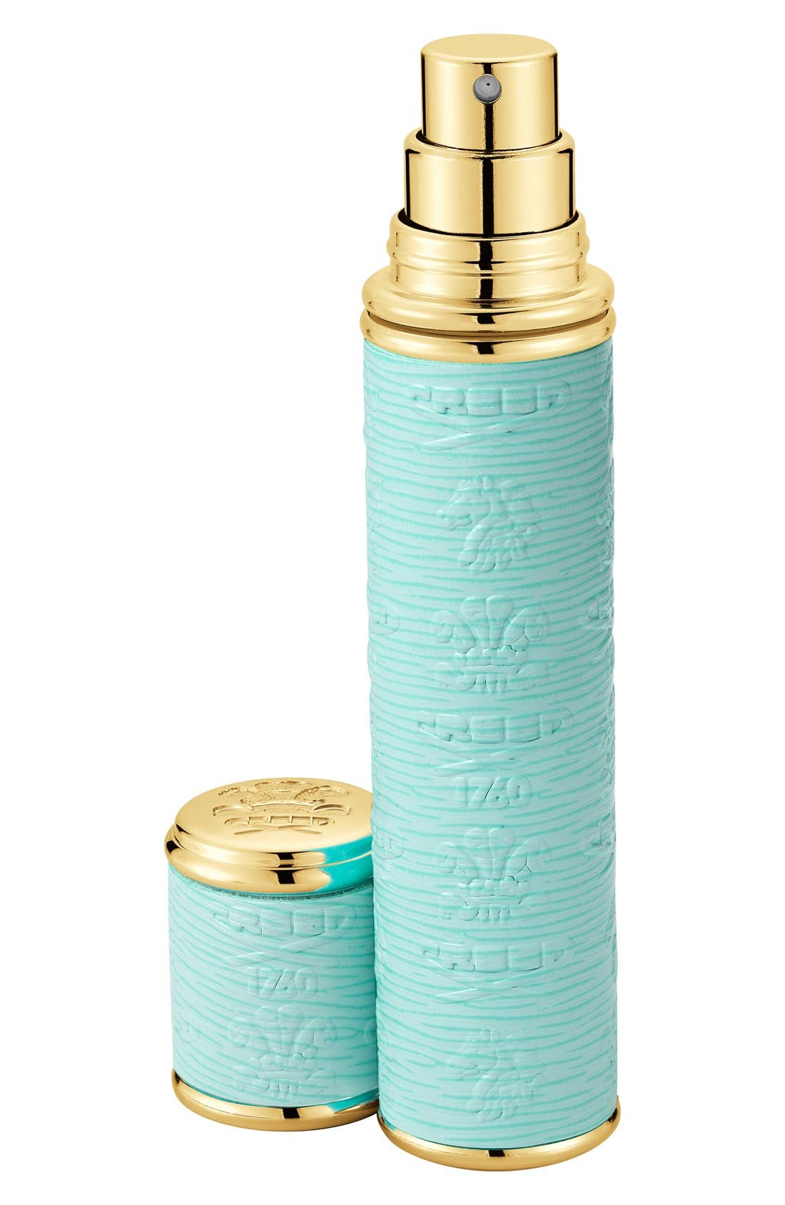 Silver Leather with Gold Trim Pocket Atomizer,                             Main thumbnail 1, color,                             TURQUOISE/GOLD