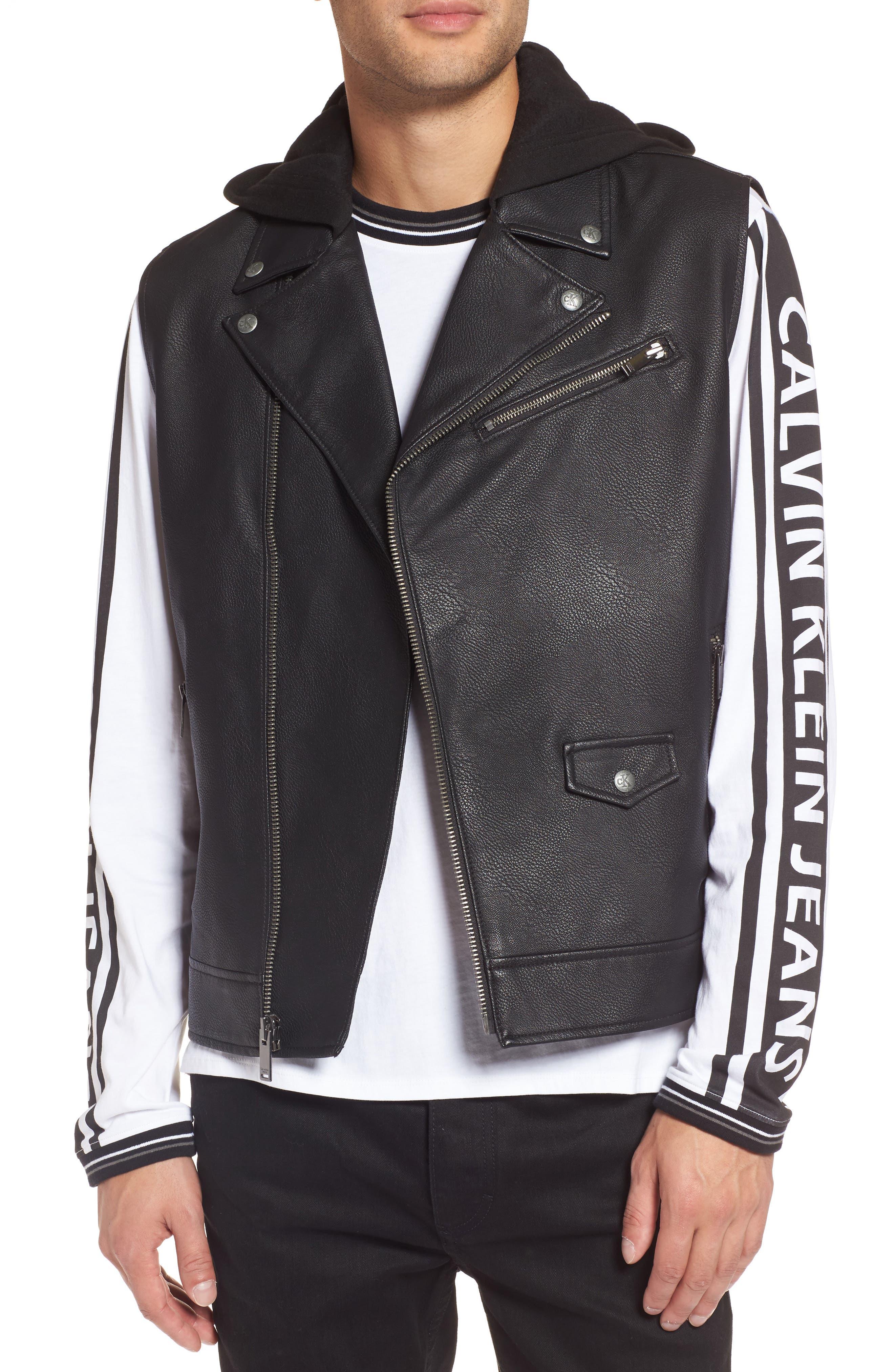 Faux Leather Hooded Biker Vest,                             Main thumbnail 1, color,                             010