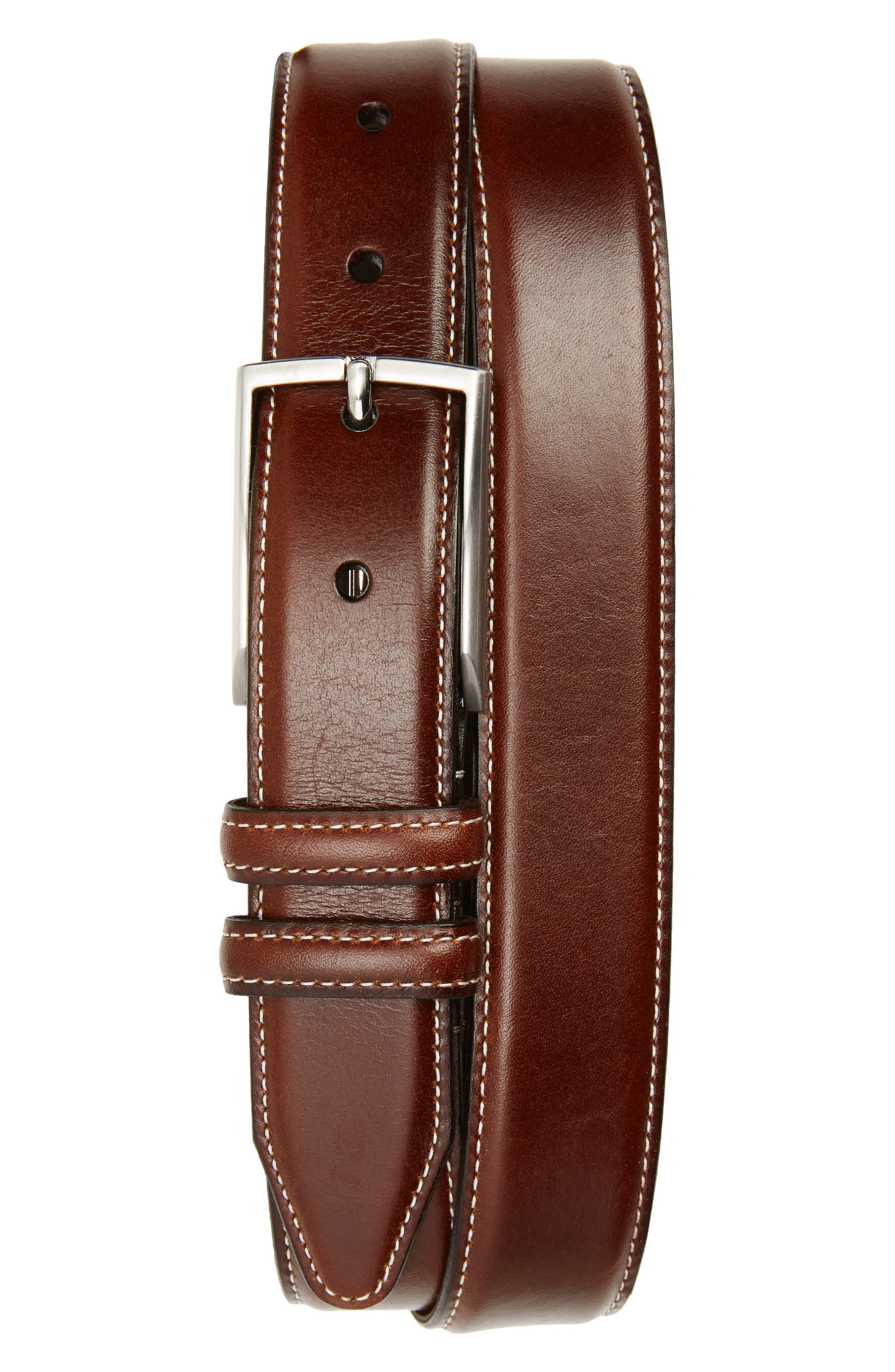 Nordstrom Shop Carter Leather Dress Belt, Chili