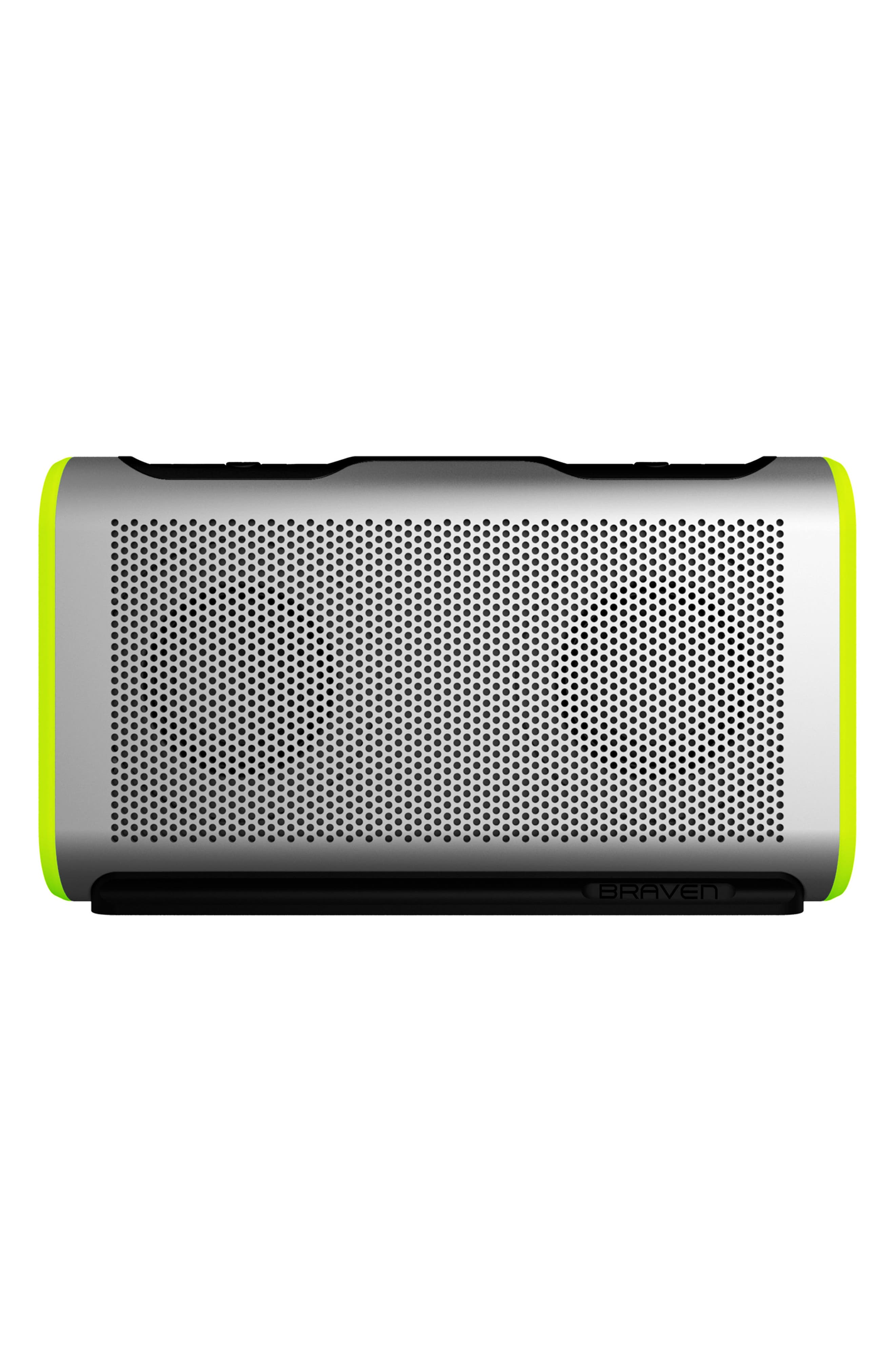 Stryde Waterproof Bluetooth Speaker,                             Main thumbnail 1, color,                             SILVER/ GREEN