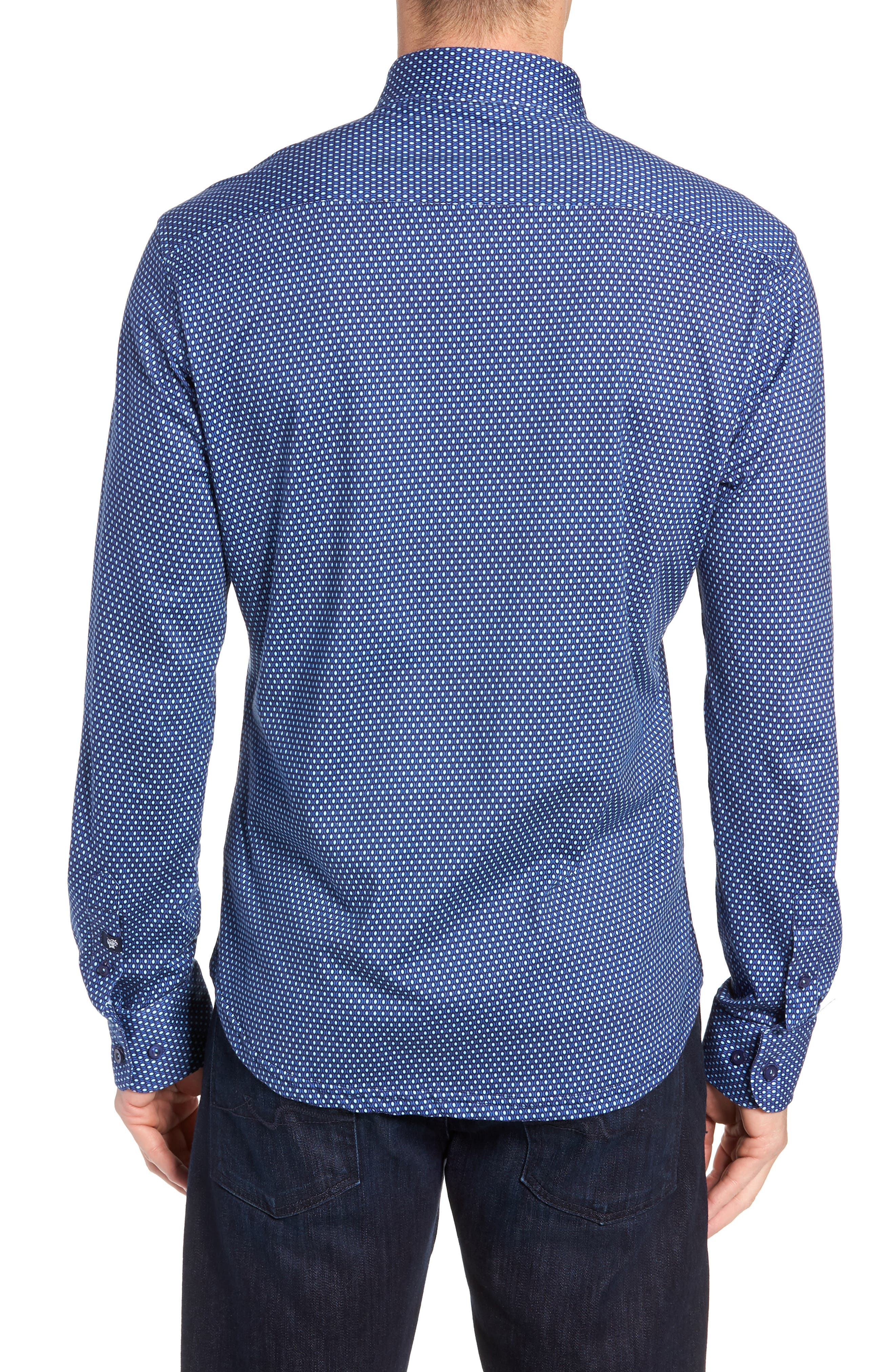 Trim Fit Sport Shirt,                             Alternate thumbnail 3, color,                             NAVY