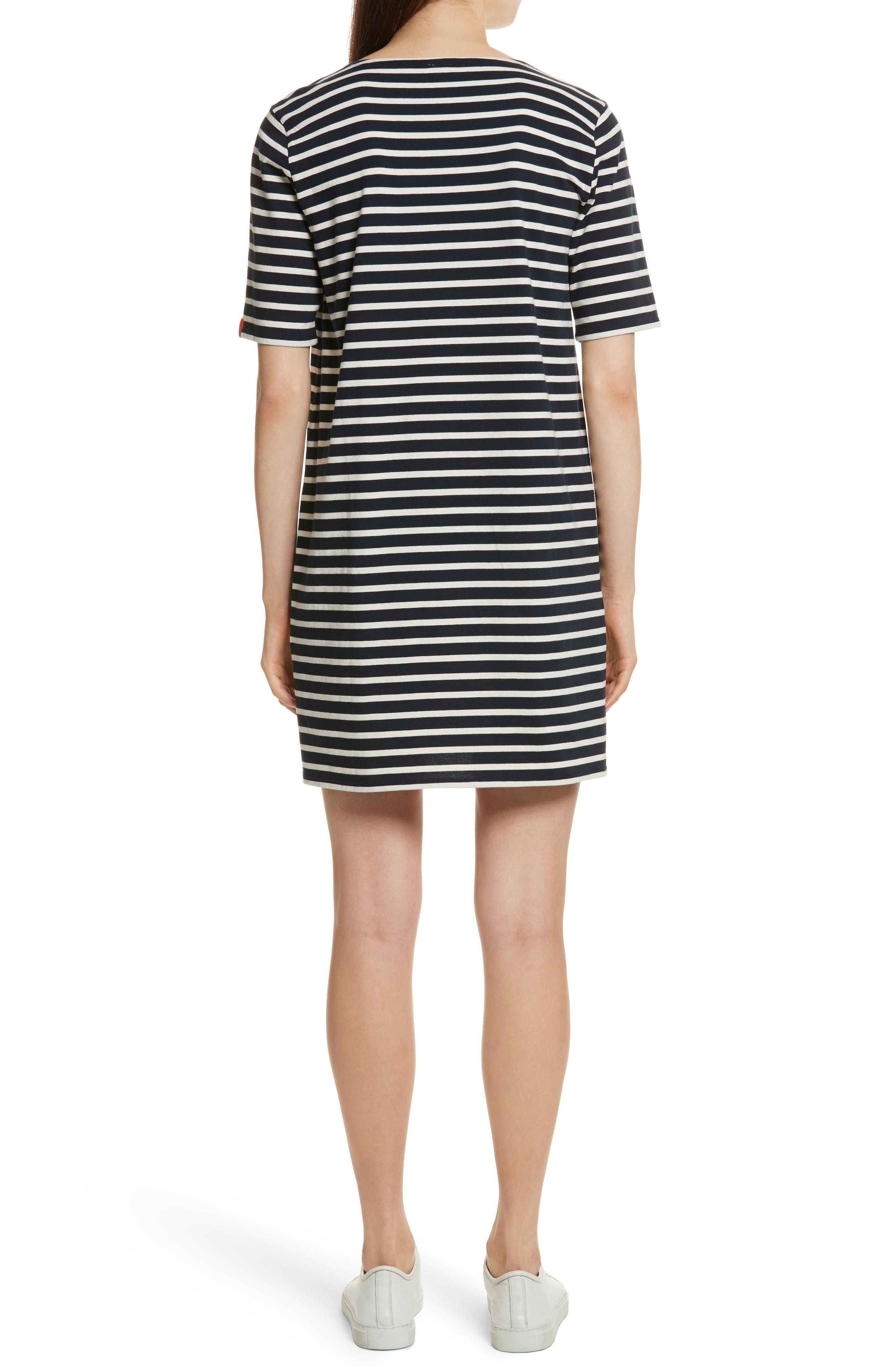 The Tee Stripe Dress,                             Alternate thumbnail 2, color,                             NAVY/ CREAM