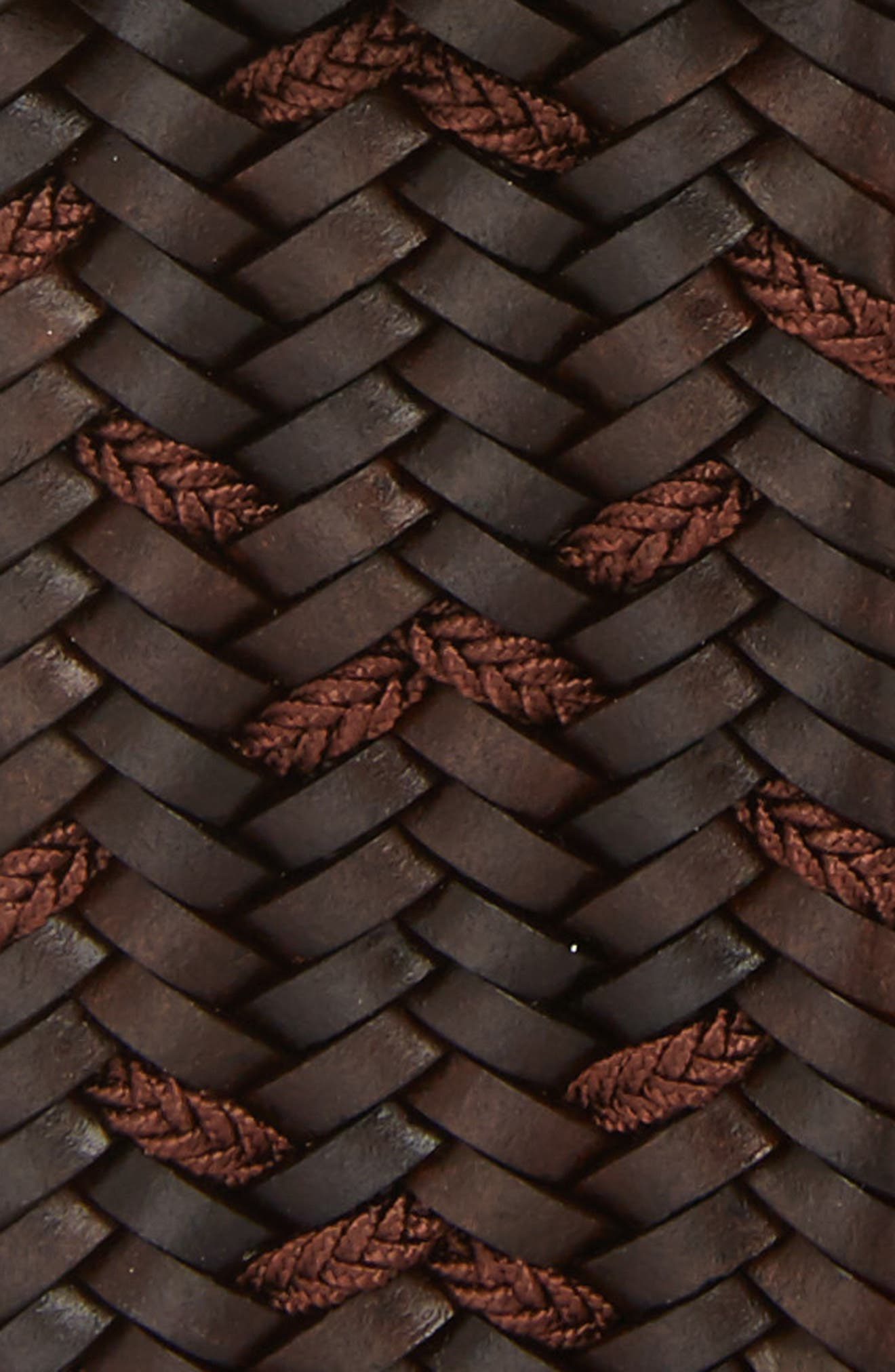 Woven Mixed Media Belt,                             Alternate thumbnail 2, color,                             BROWN/ COCOA