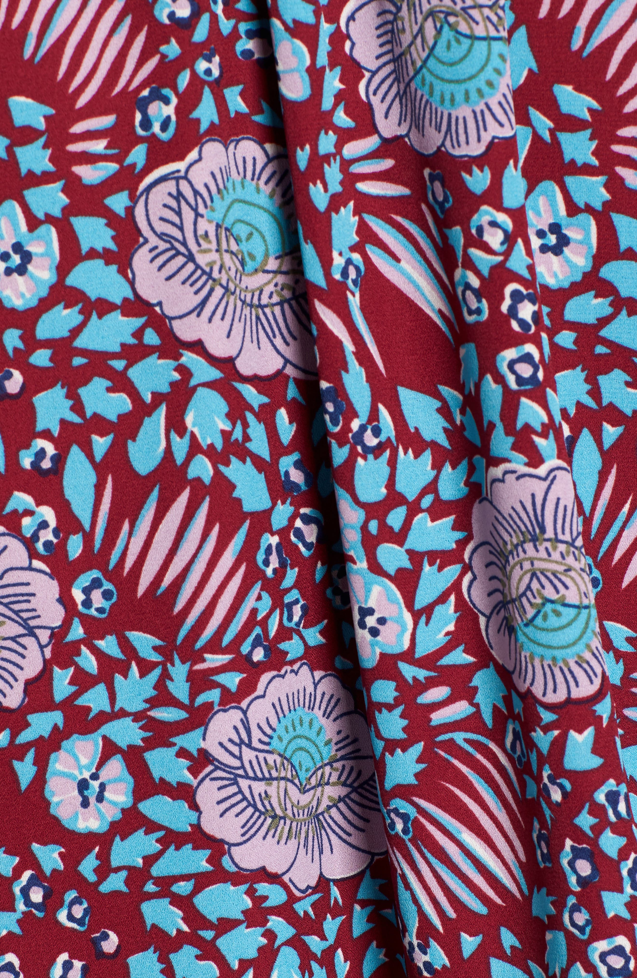 Penelope Floral Ruffle Top,                             Alternate thumbnail 5, color,                             DARK RED MULTI