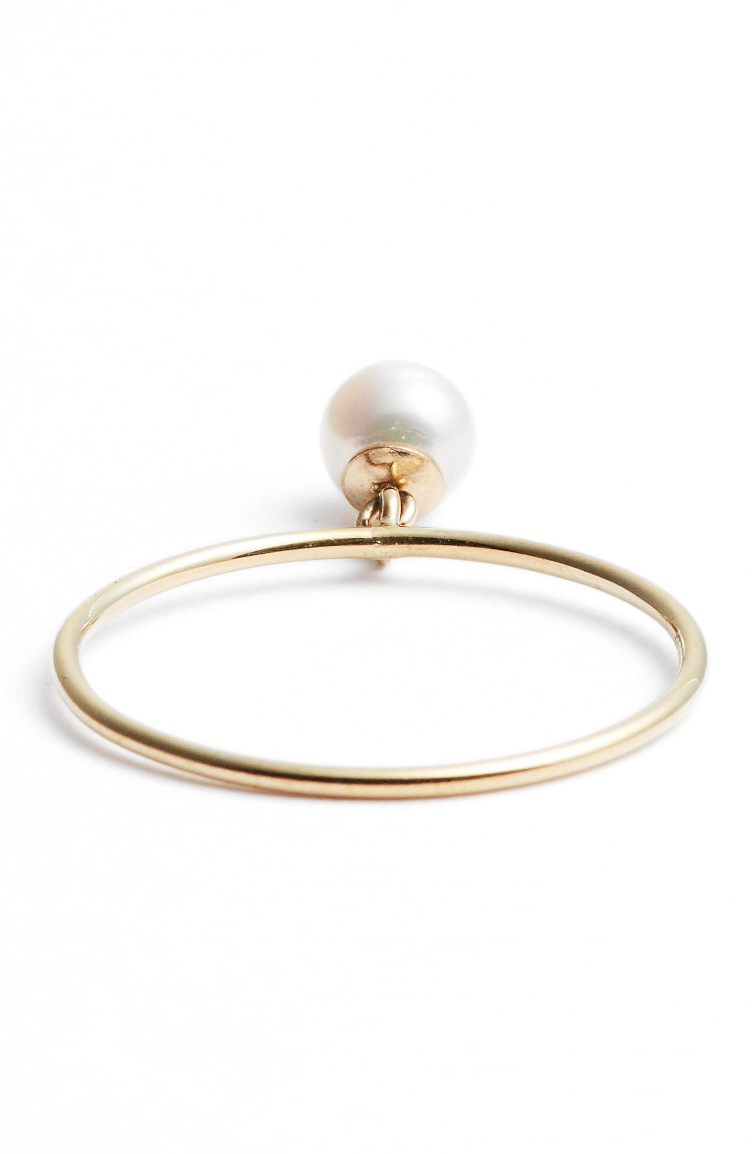 Dangling Pearl Charm Ring,                             Alternate thumbnail 4, color,                             YELLOW GOLD/ WHITE PEARL