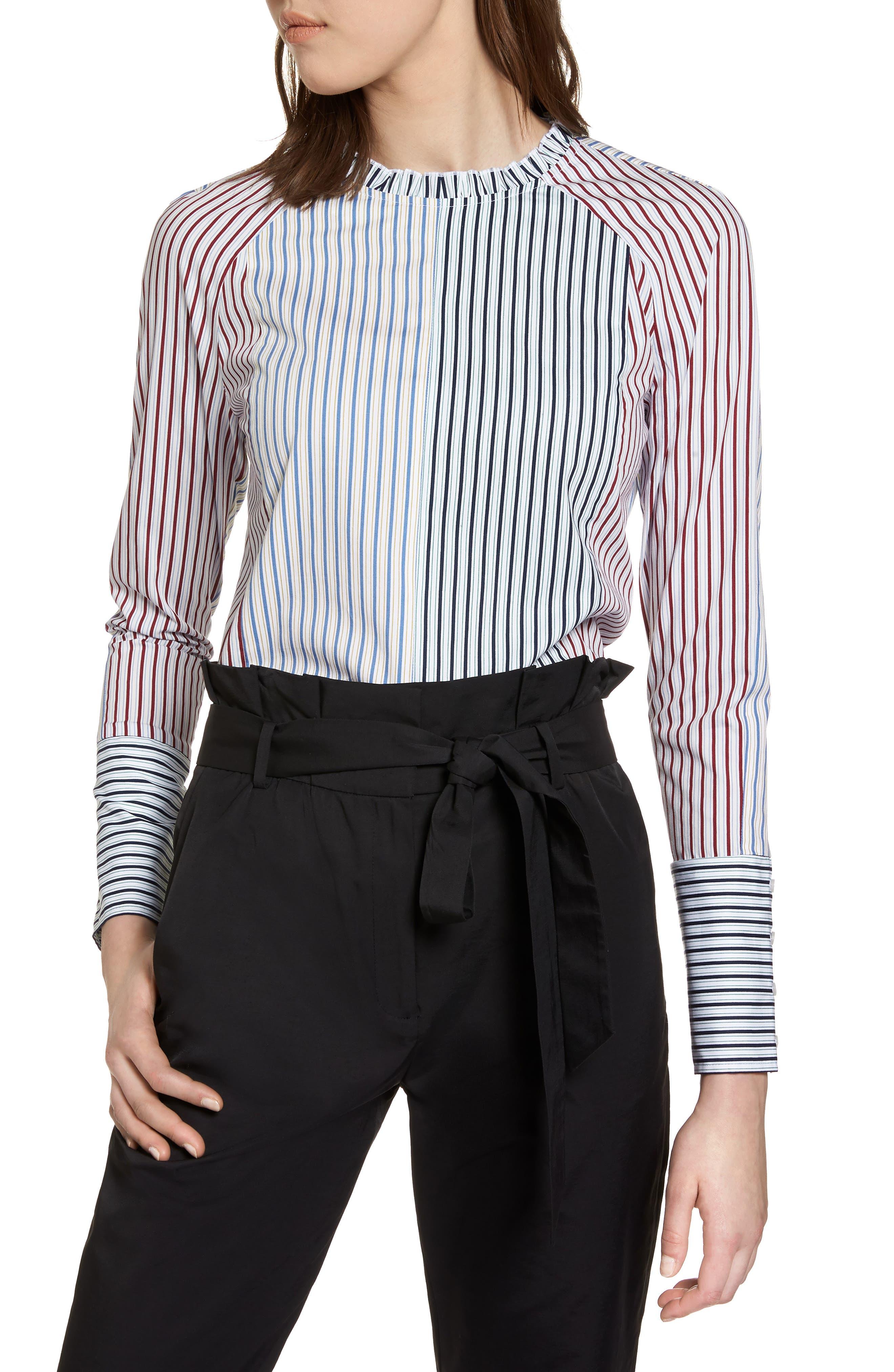 HALOGEN<SUP>®</SUP>,                             Mixed Stripe Cotton Shirt,                             Main thumbnail 1, color,                             100