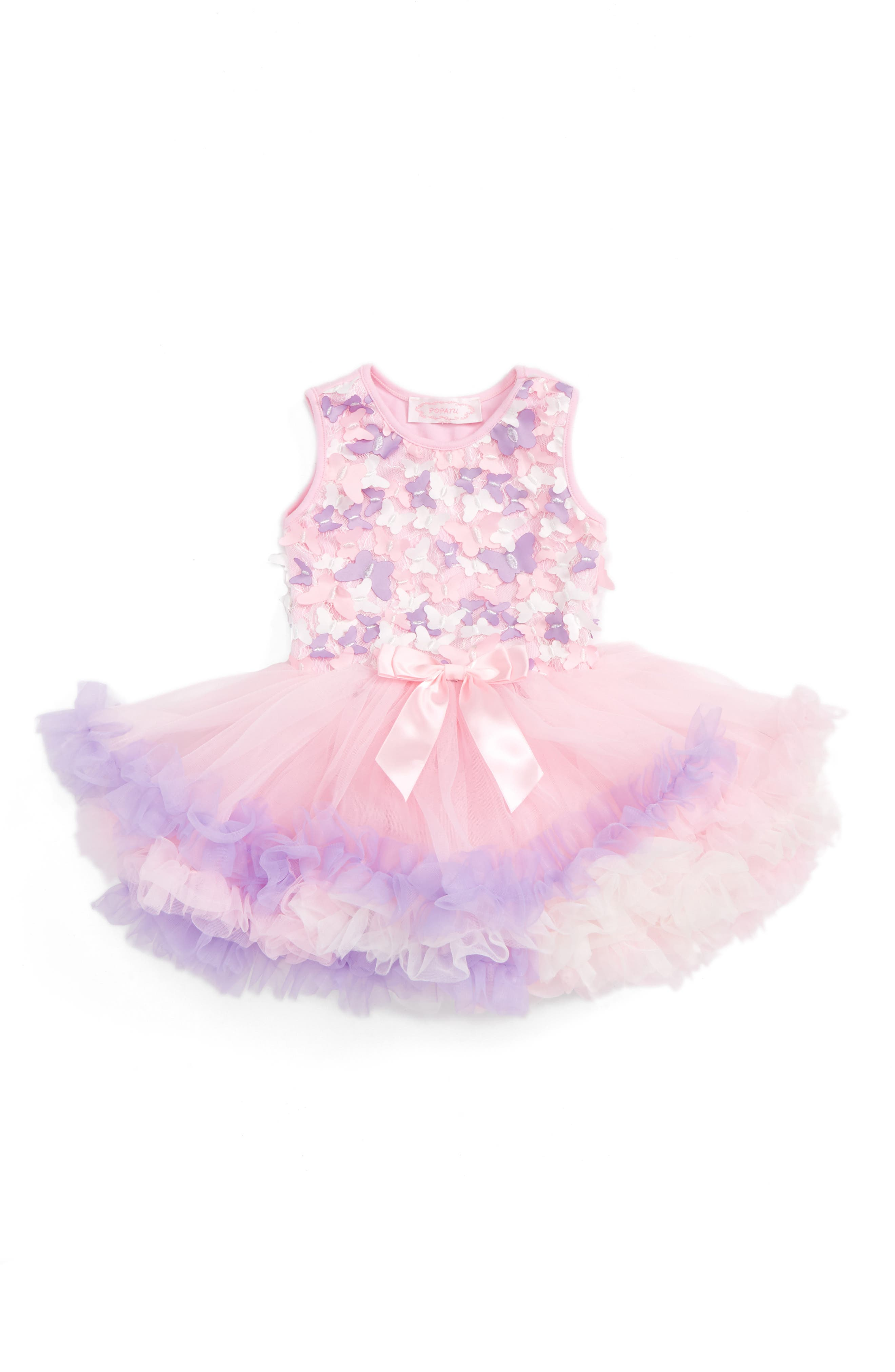 Butterfly Tutu Dress,                         Main,                         color, PINK/ PURPLE
